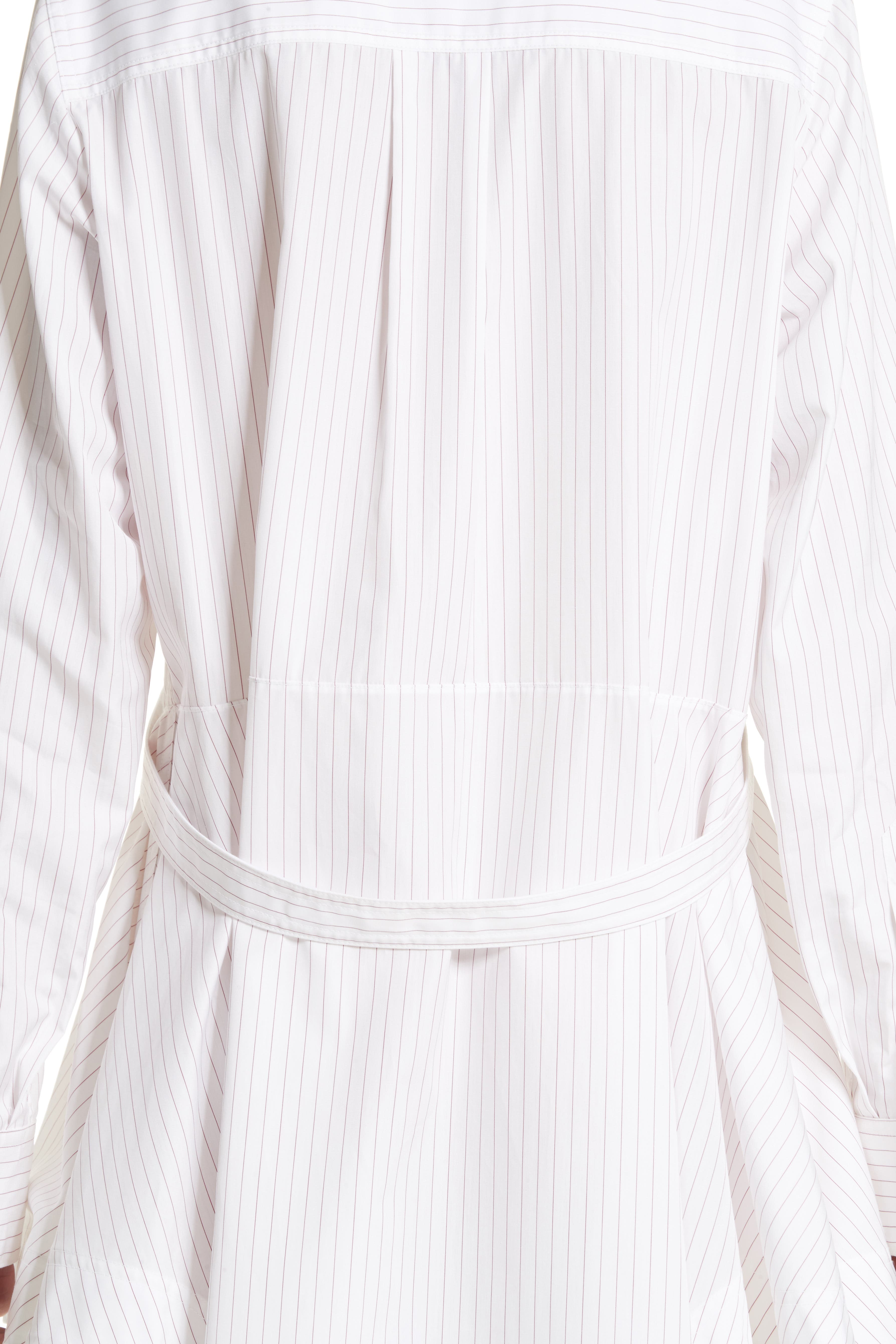 Pinstripe Cotton Poplin Dress,                             Alternate thumbnail 5, color,                             100