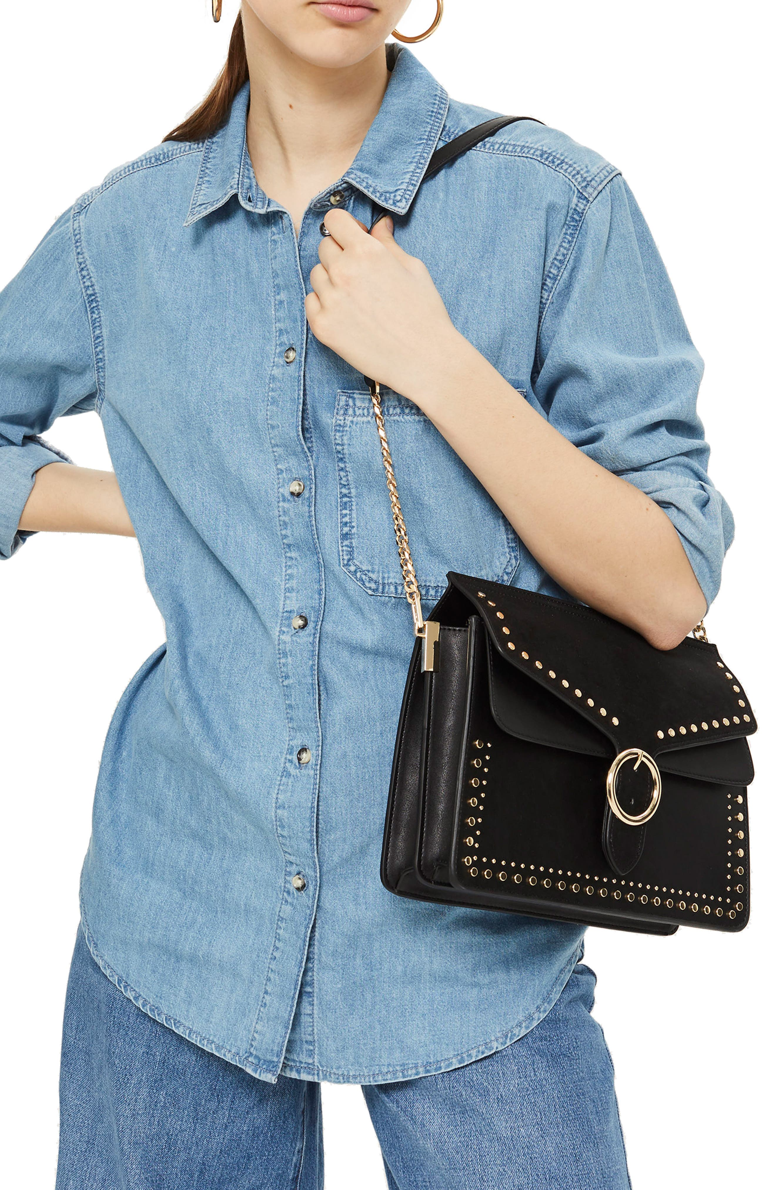 Peony Studded Shoulder Bag,                             Alternate thumbnail 2, color,                             001