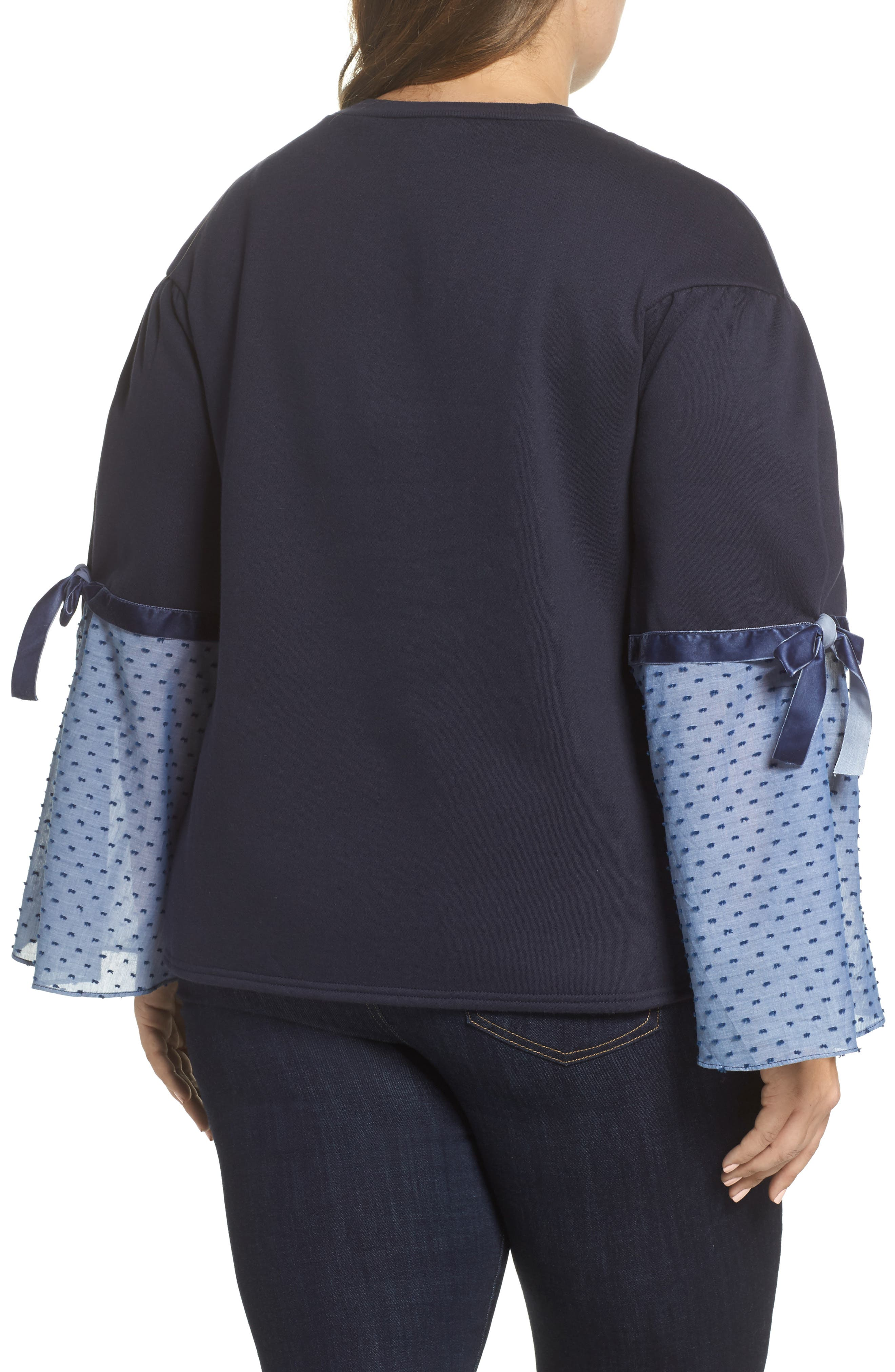 Sweatshirt with Woven Tie Sleeves,                             Alternate thumbnail 2, color,                             410
