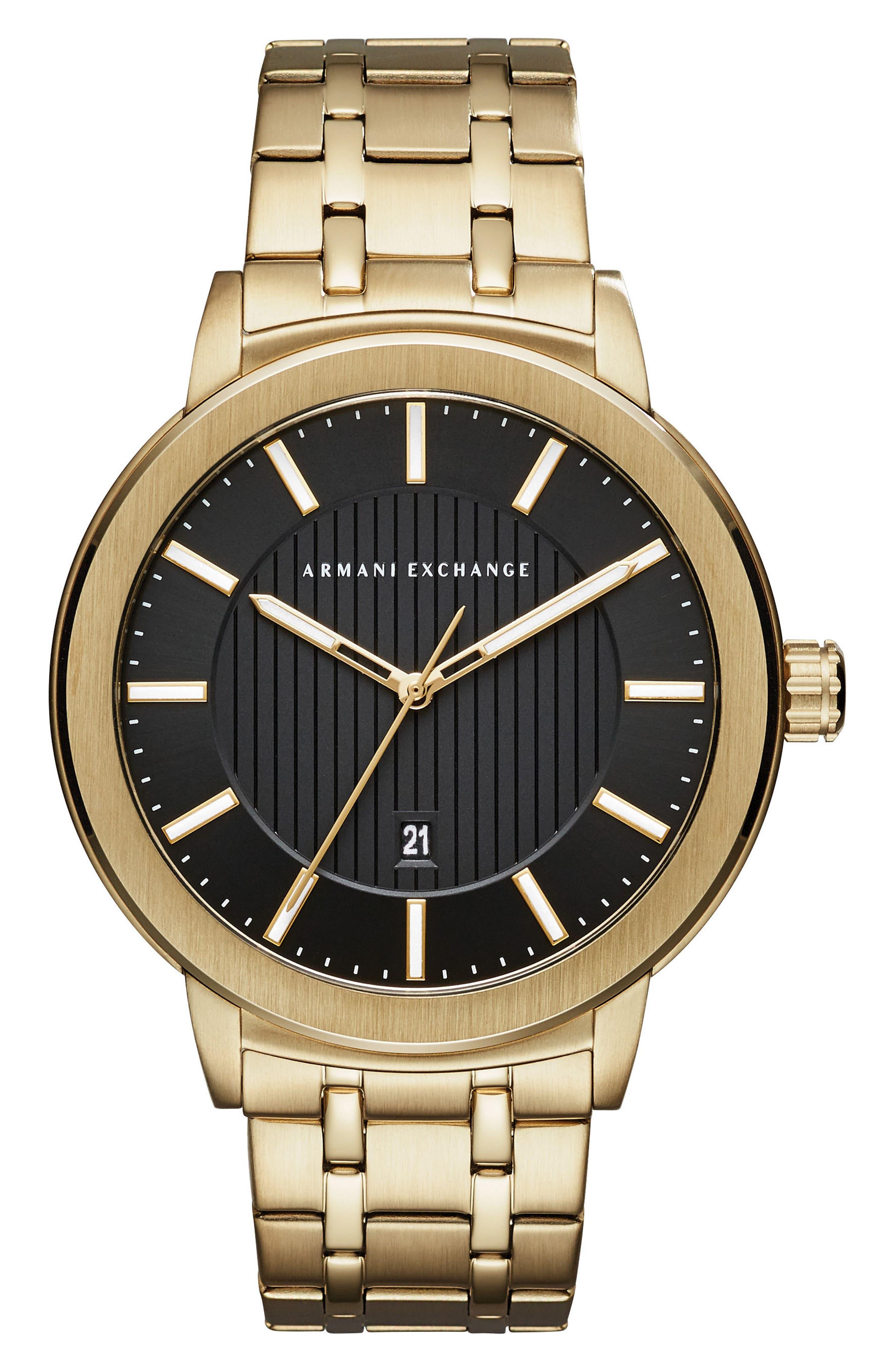Bracelet Watch, 46mm,                             Main thumbnail 1, color,                             BLACK/ GOLD