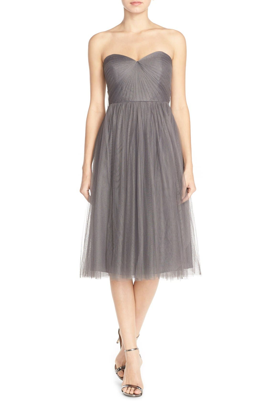 Maia Convertible Tulle Tea Length Fit & Flare Dress,                         Main,                         color, 028