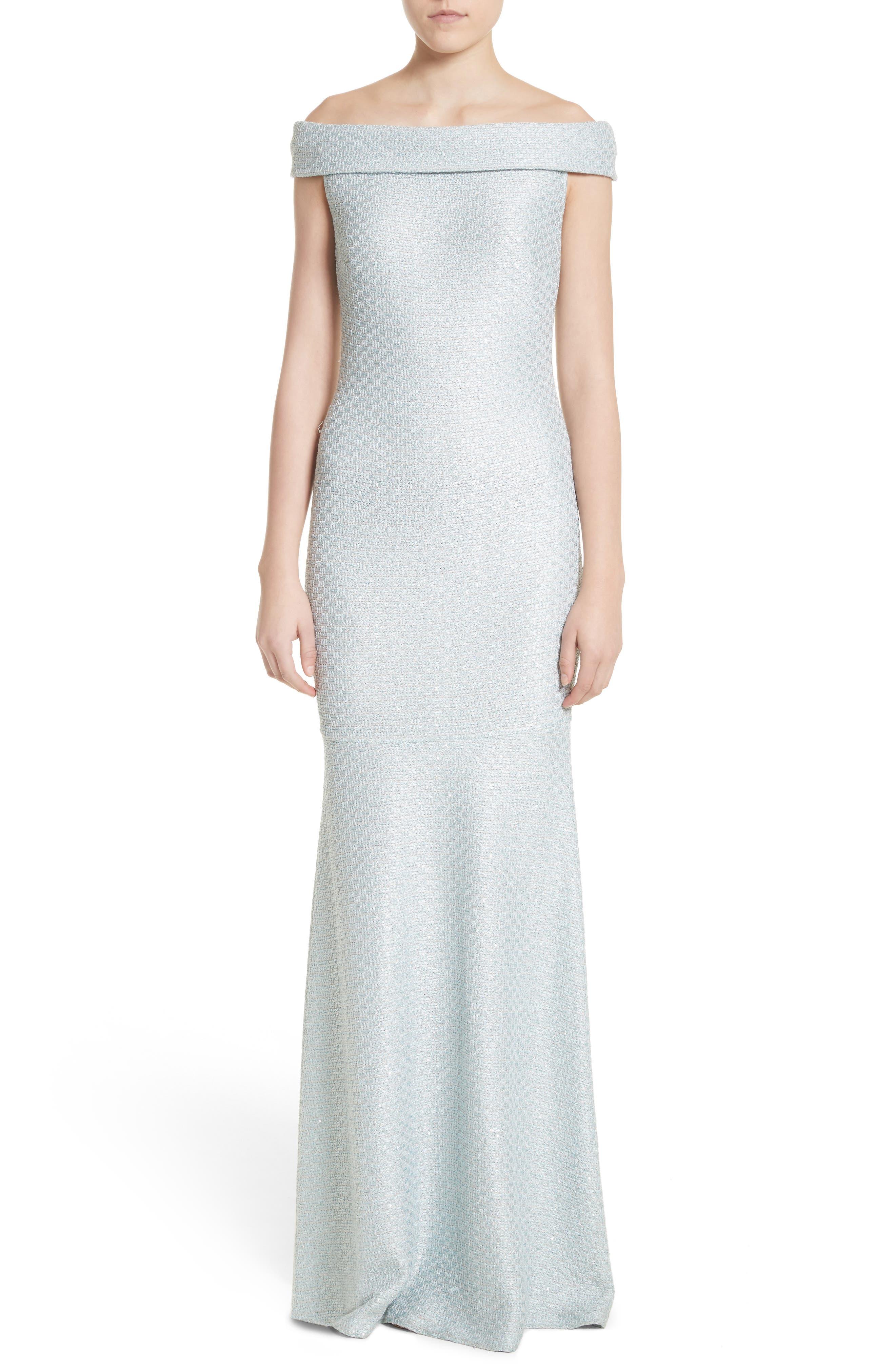 Hansh Sequin Knit Off the Shoulder Gown,                         Main,                         color, MINT