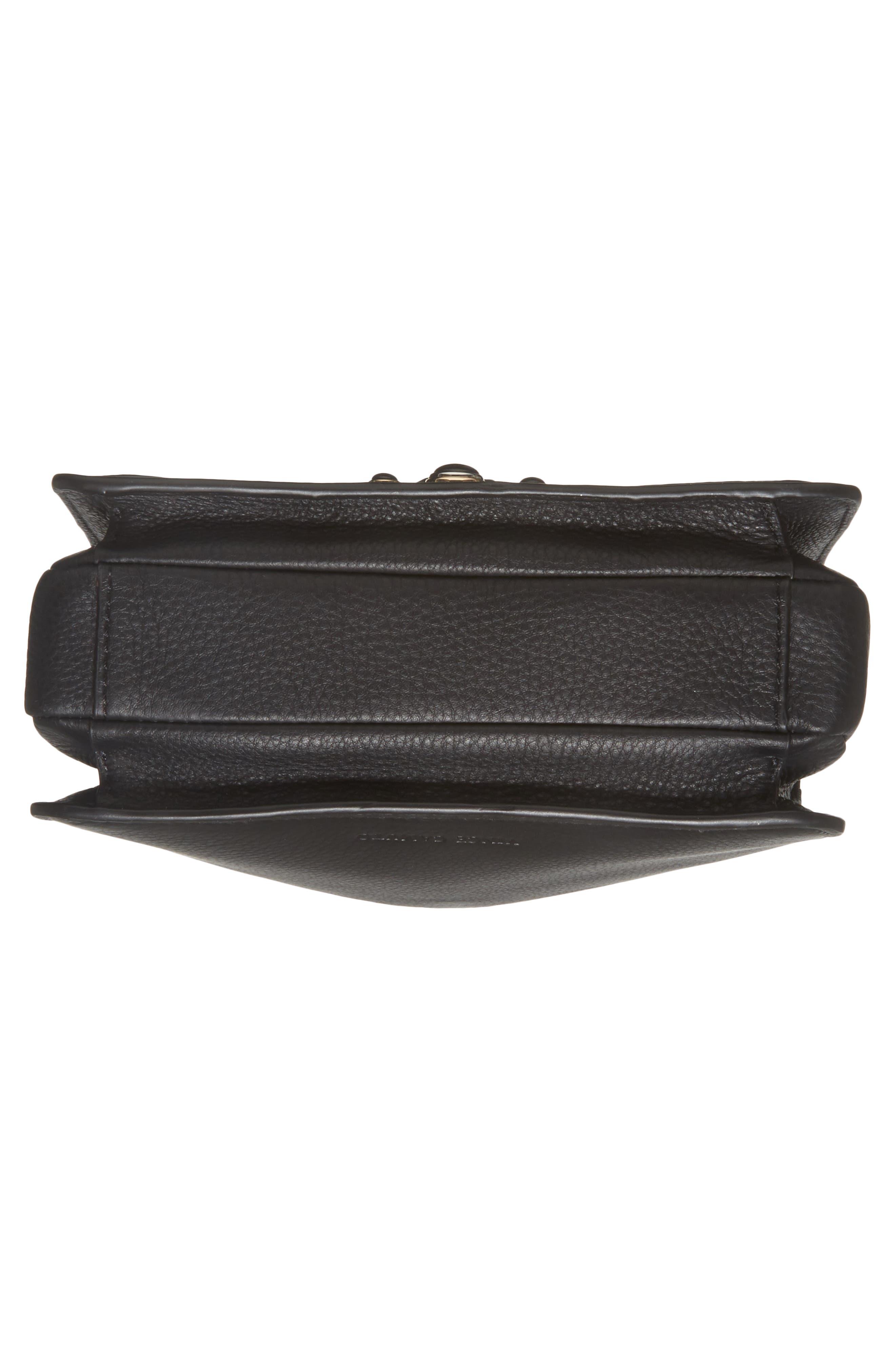 Bitty Studded Leather Shoulder Bag,                             Alternate thumbnail 6, color,                             002