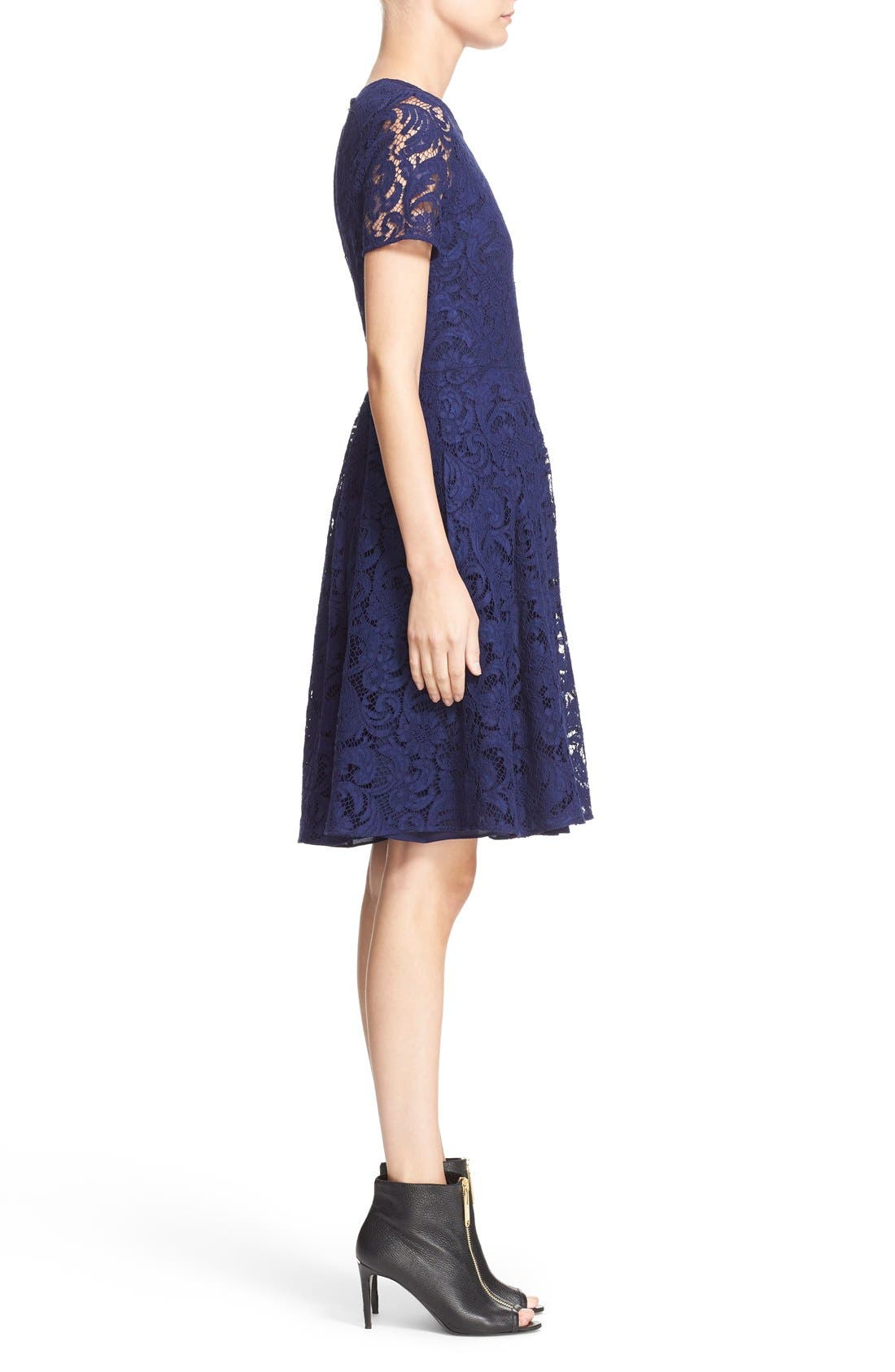 BURBERRY LONDON,                             'Alice' Short Sleeve Corded Lace Fit & Flare Dress,                             Alternate thumbnail 4, color,                             495