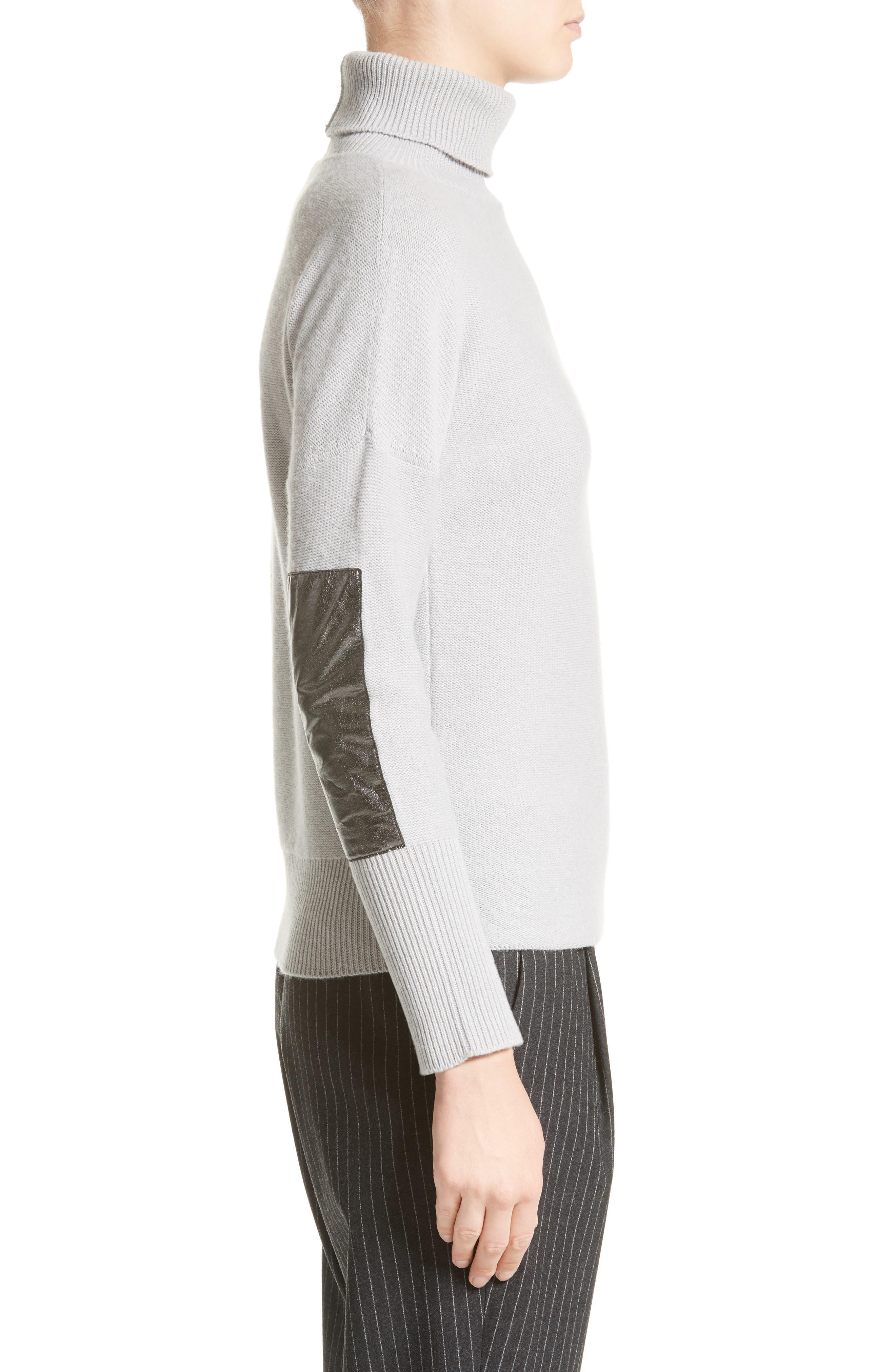 Wool, Silk & Cashmere Knit Turtleneck,                             Alternate thumbnail 3, color,                             050