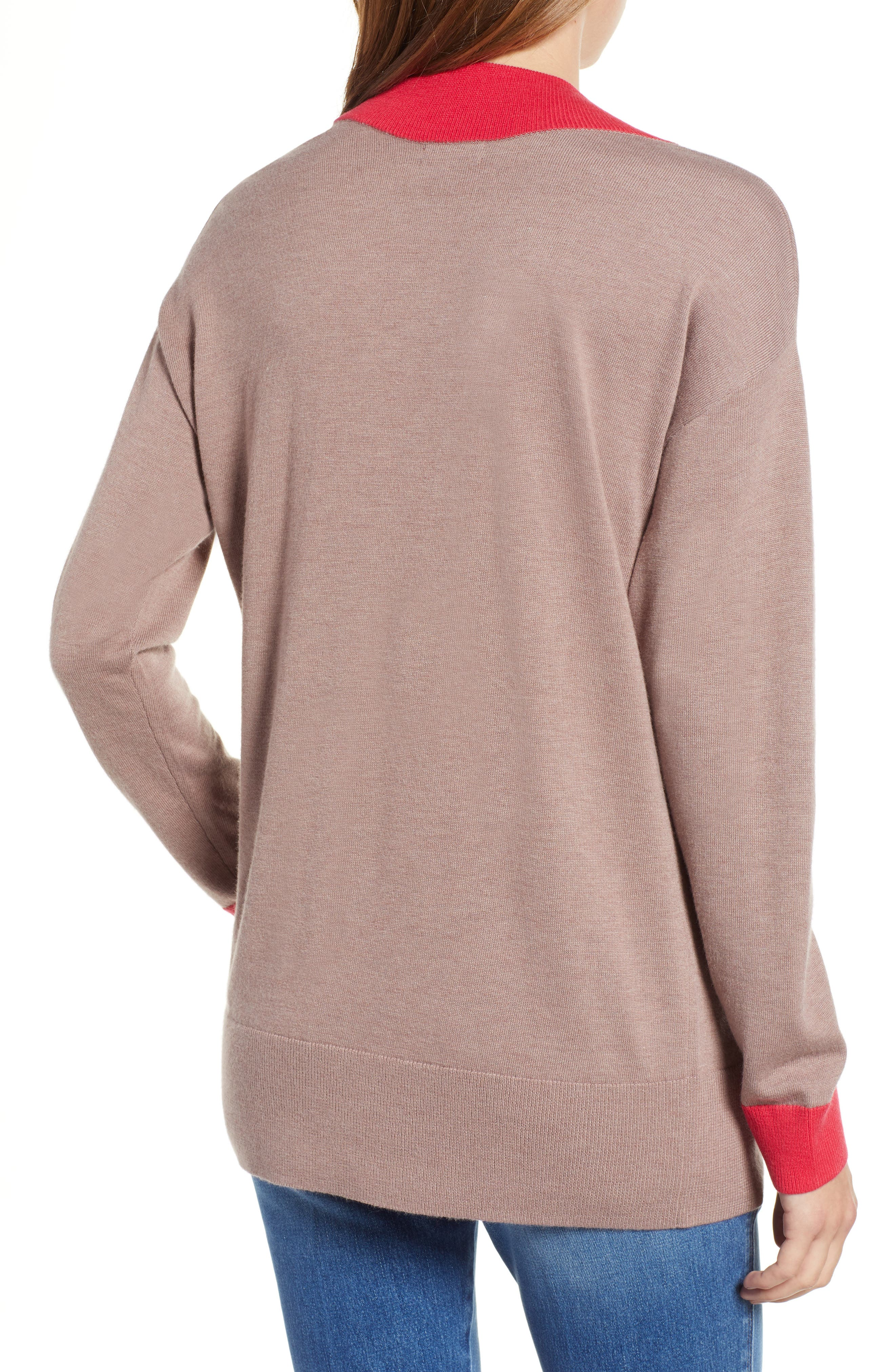 CHELSEA28,                             V-Neck Sweater,                             Alternate thumbnail 2, color,                             PINK FAWN HEATHER COMBO