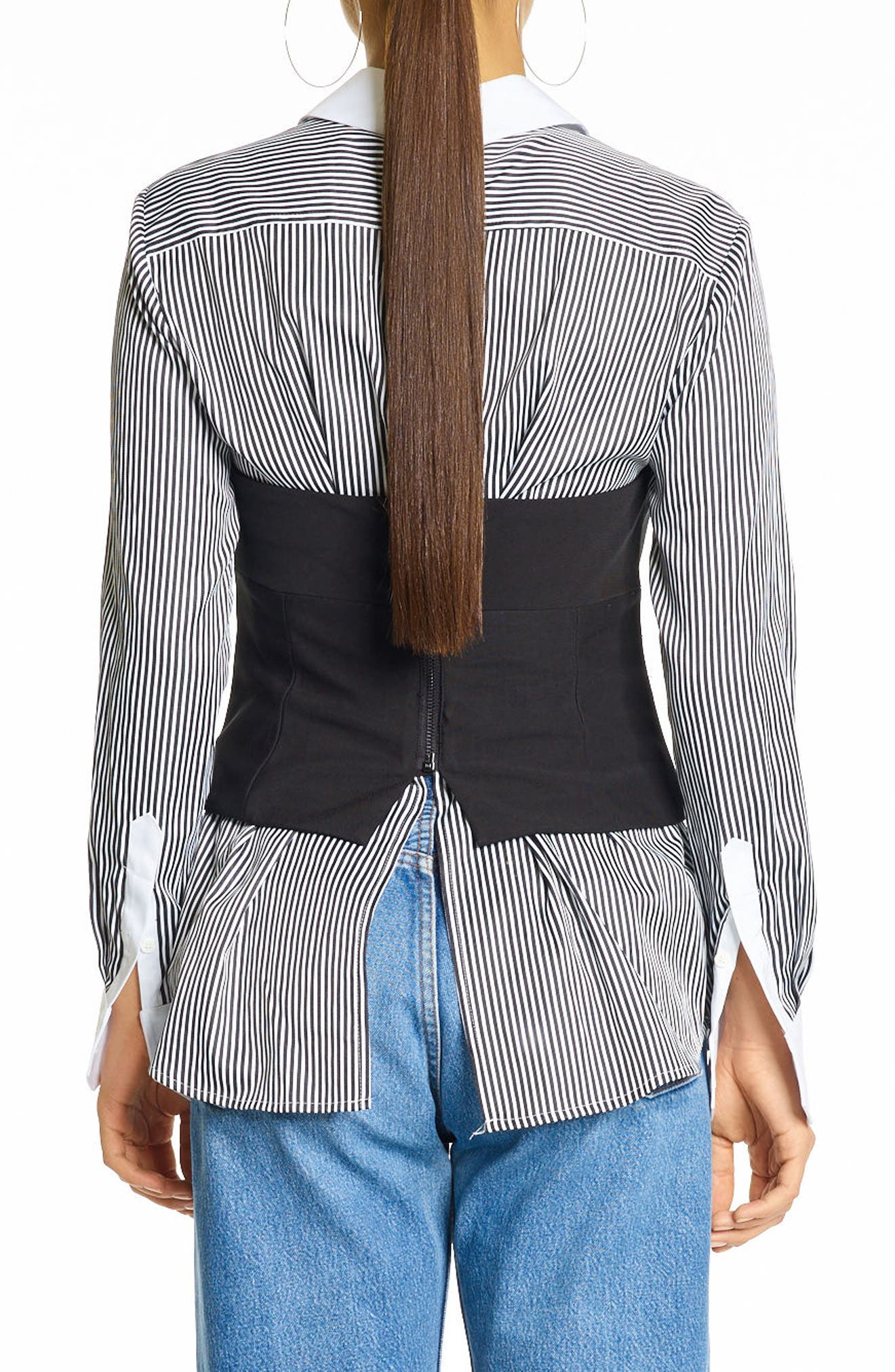 Stripe Bustier Shirt,                             Alternate thumbnail 2, color,                             BLACK/ WHITE
