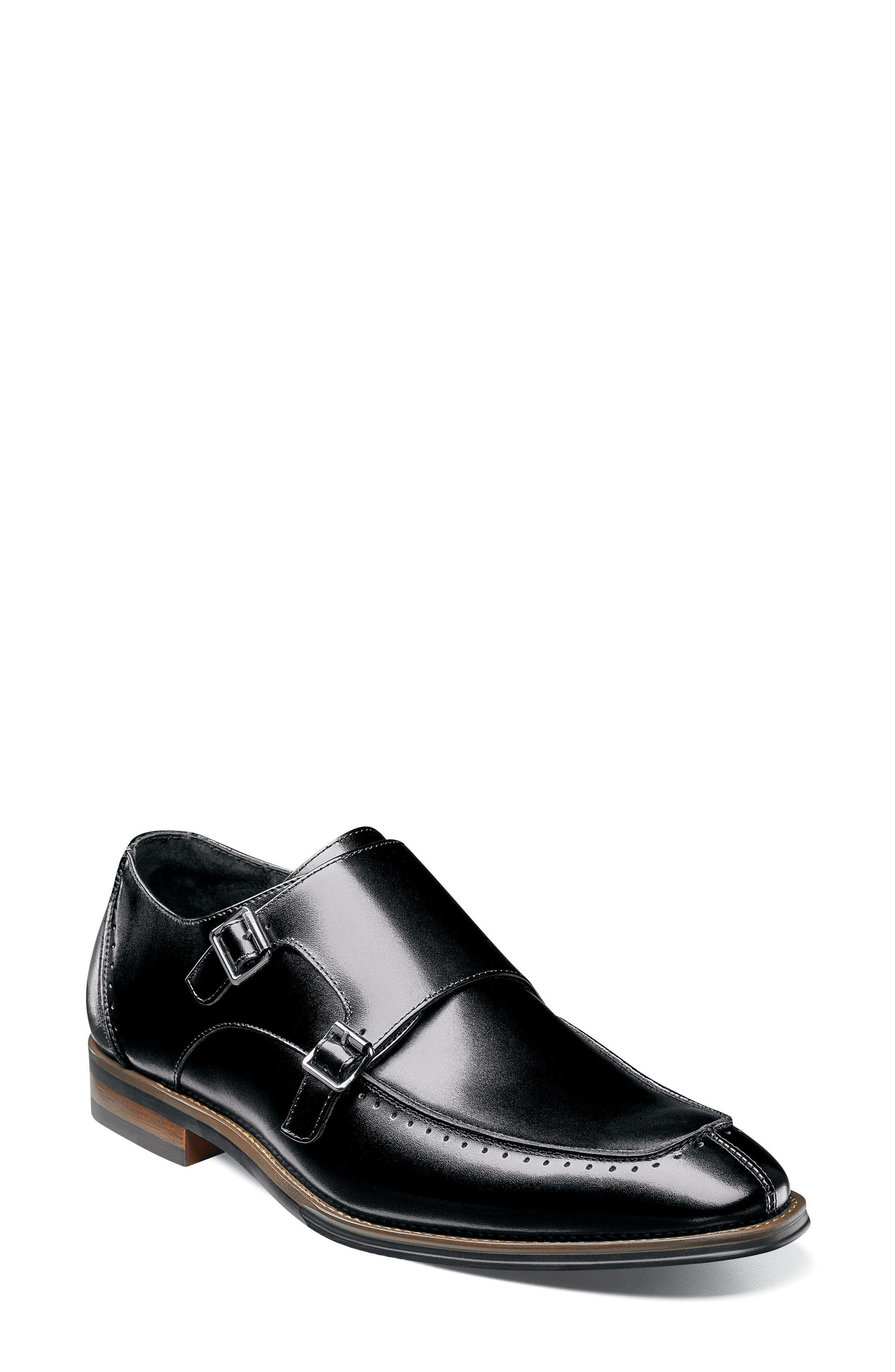Baldwin Double Monk Strap Slip-On,                         Main,                         color, BLACK LEATHER