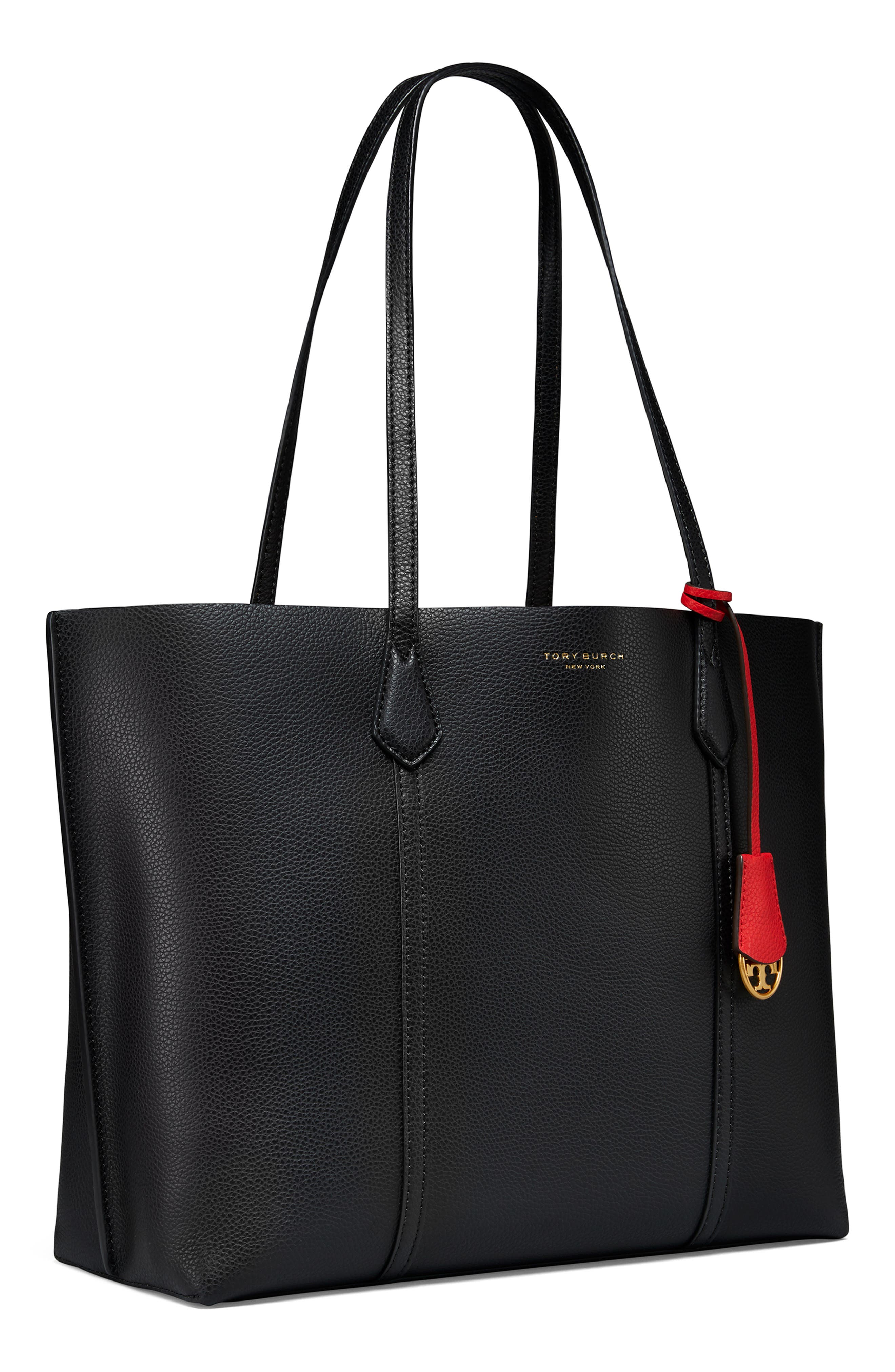 TORY BURCH,                             Perry Leather 13-Inch Laptop Tote,                             Alternate thumbnail 3, color,                             BLACK