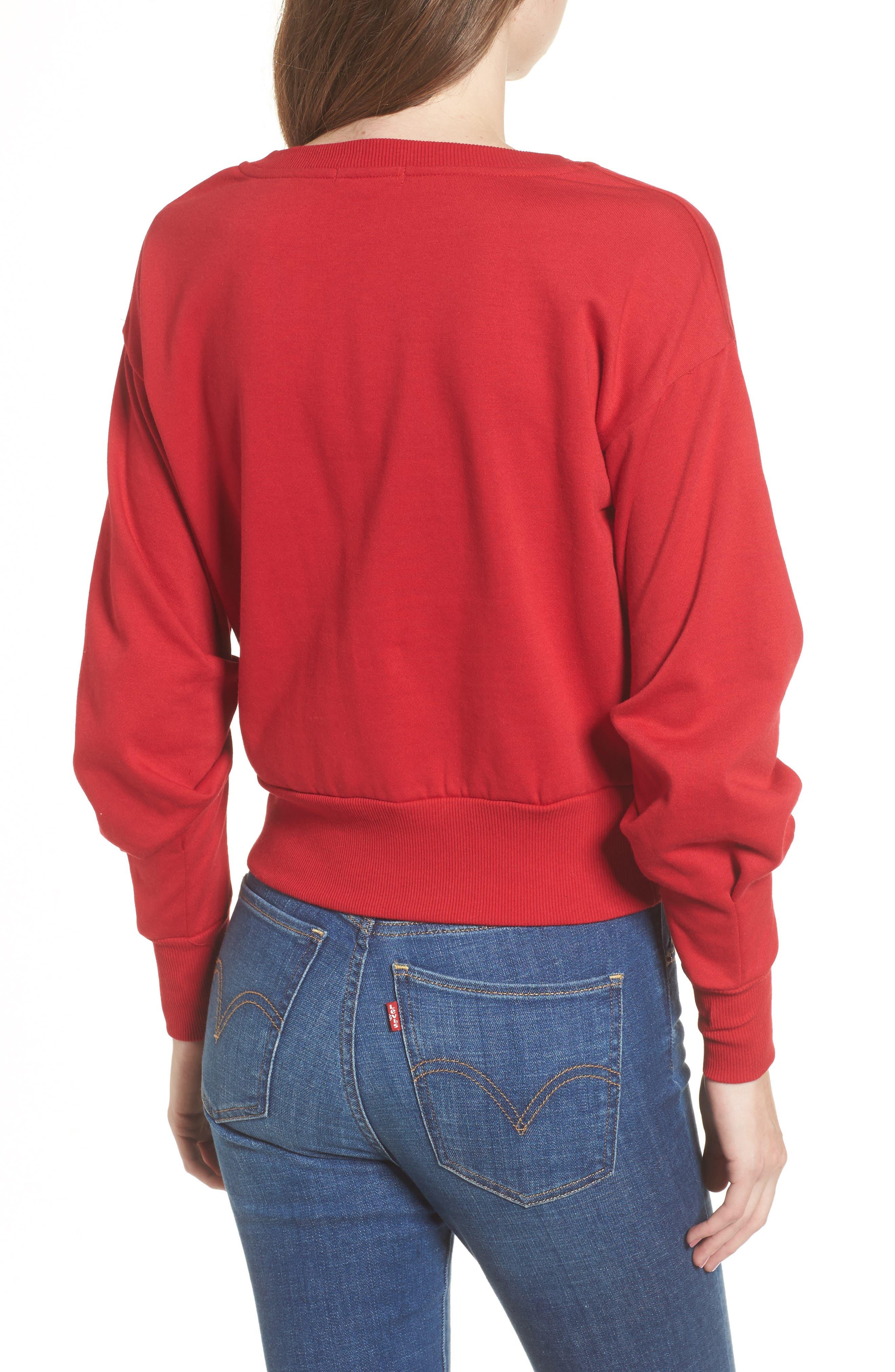 Ruched Sleeve Sweatshirt,                             Alternate thumbnail 5, color,