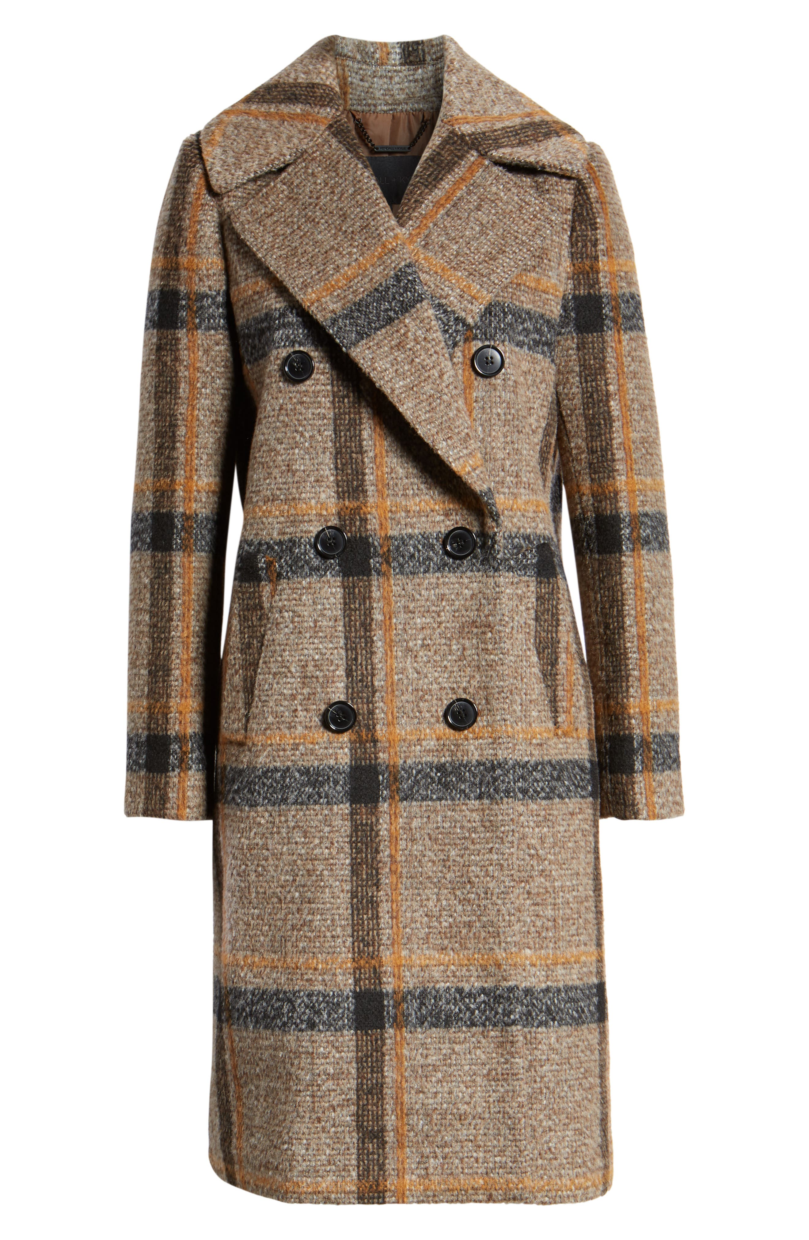Double Breasted Coat,                             Alternate thumbnail 5, color,                             BROWN PLAID