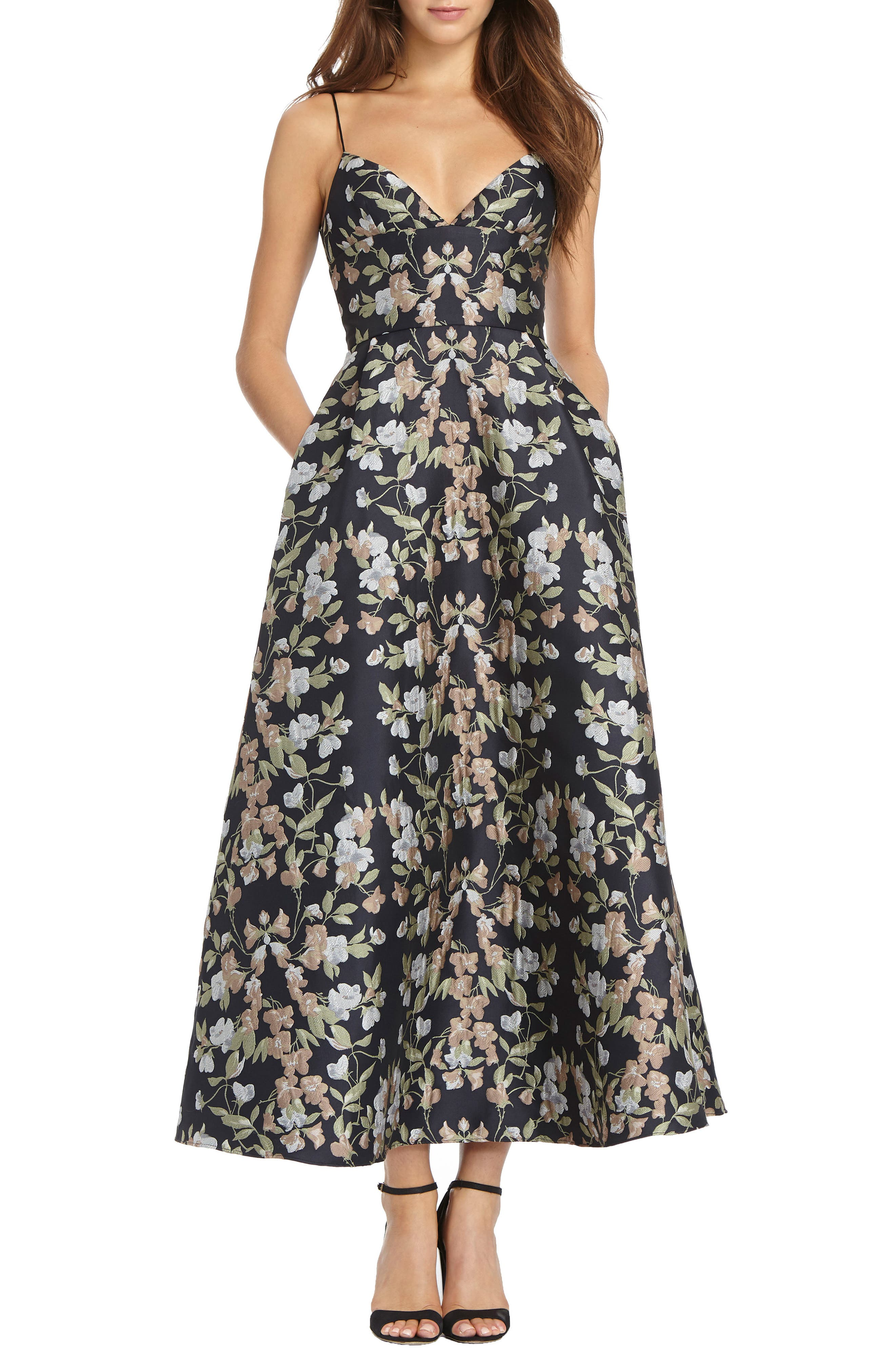 Floral Jacquard Maxi Dress,                             Main thumbnail 1, color,