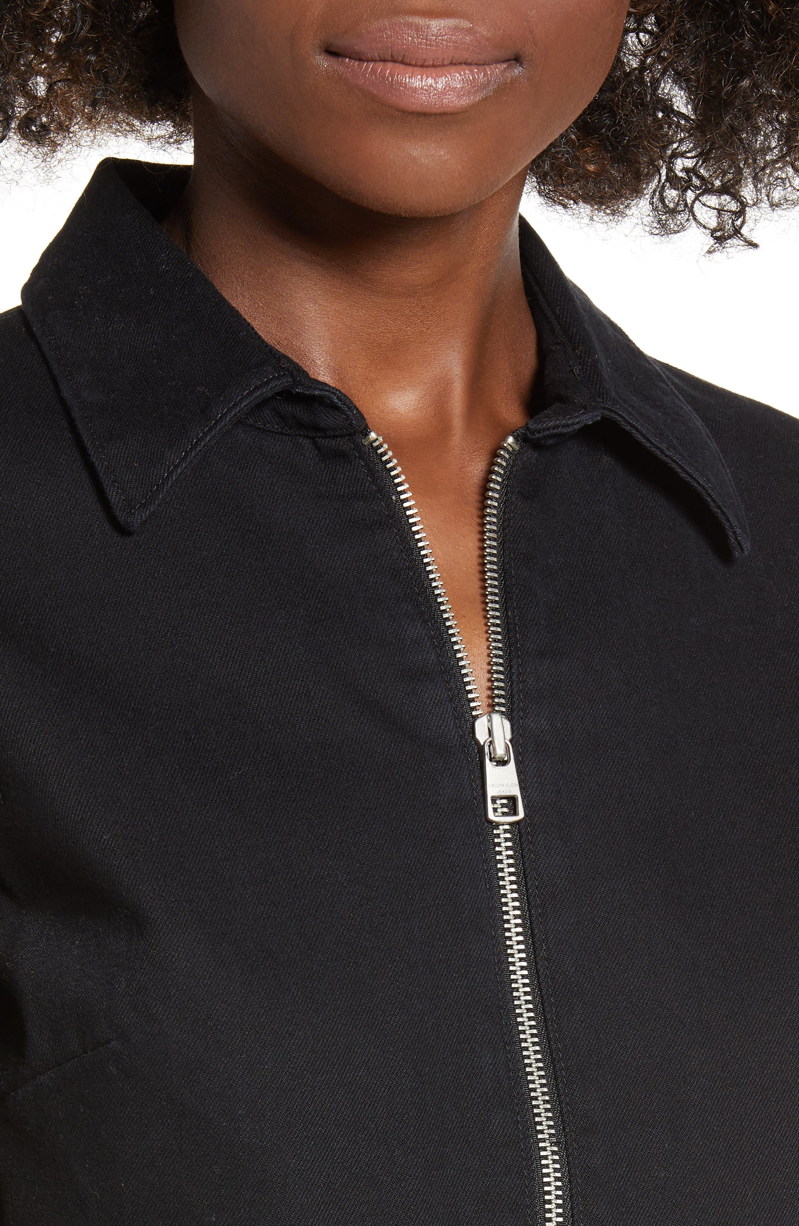 Zip Front Dress,                             Alternate thumbnail 4, color,                             BLACK STONE