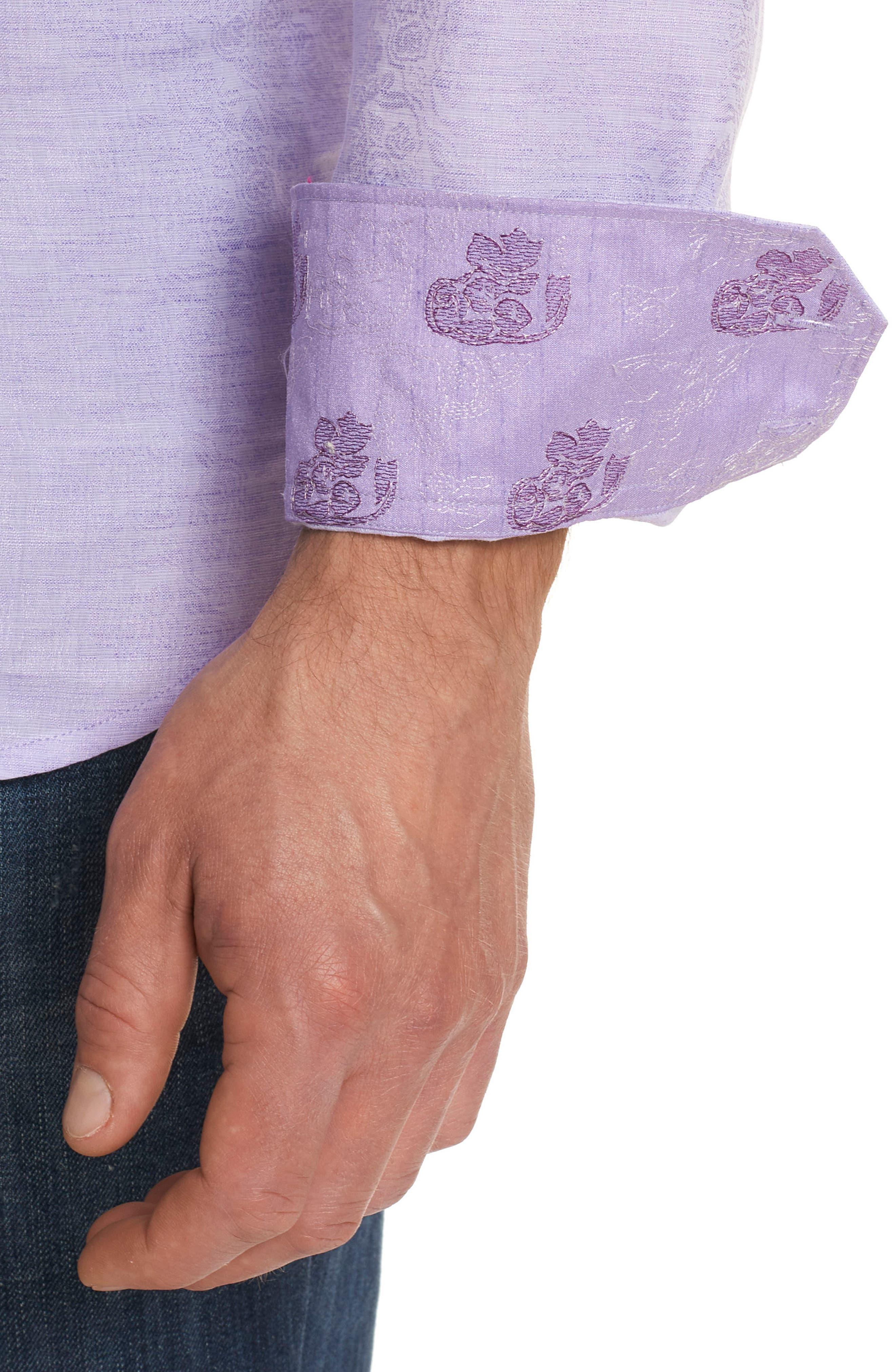 Cyprus Classic Fit Linen & Cotton Sport Shirt,                             Alternate thumbnail 3, color,                             PURPLE