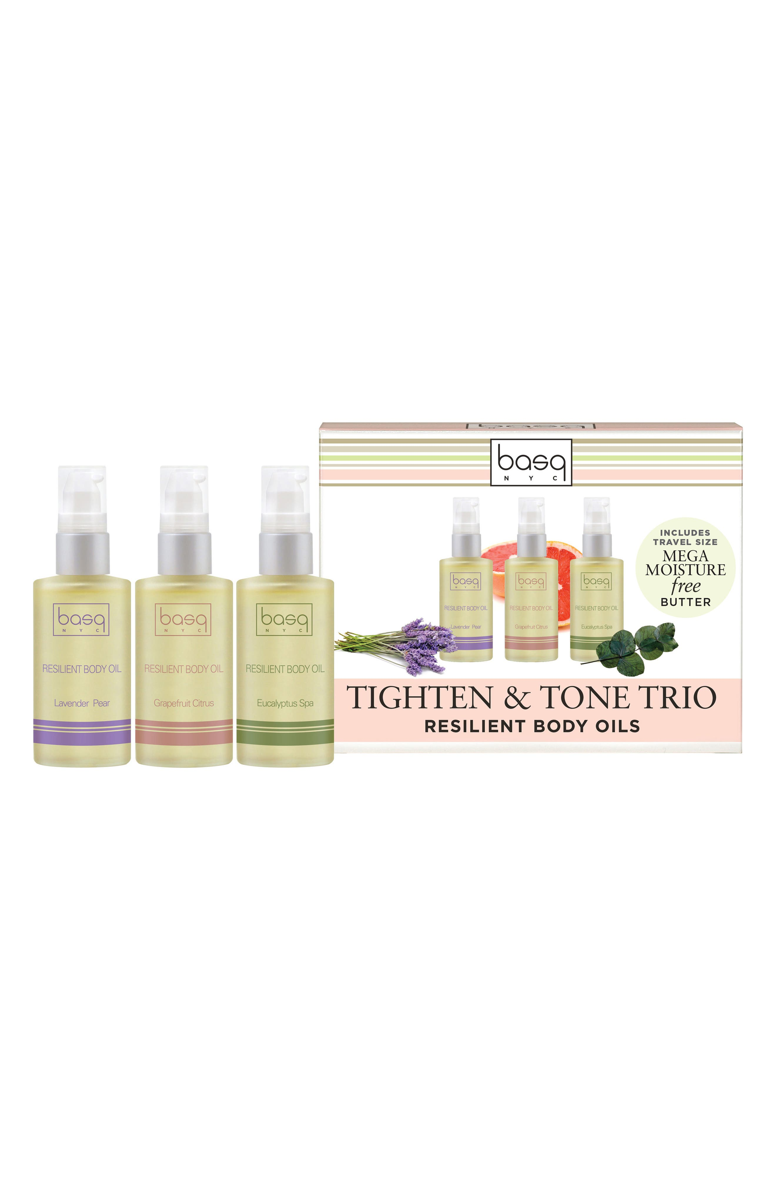 BASQ NYC Resilient Body Oil Toning Set, Main, color, WHITE