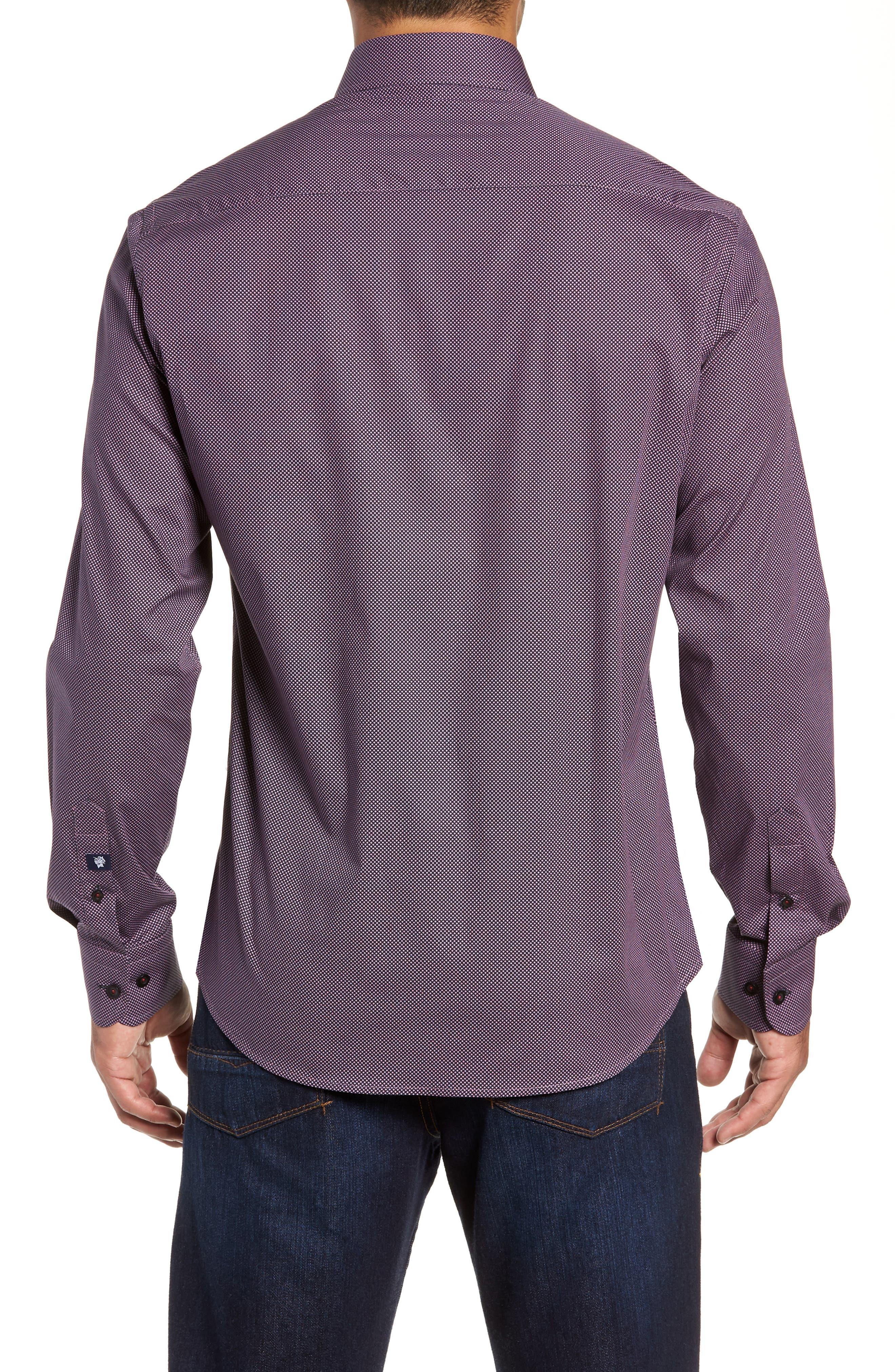 Regular Fit Microdot Sport Shirt,                             Alternate thumbnail 3, color,                             BLACK