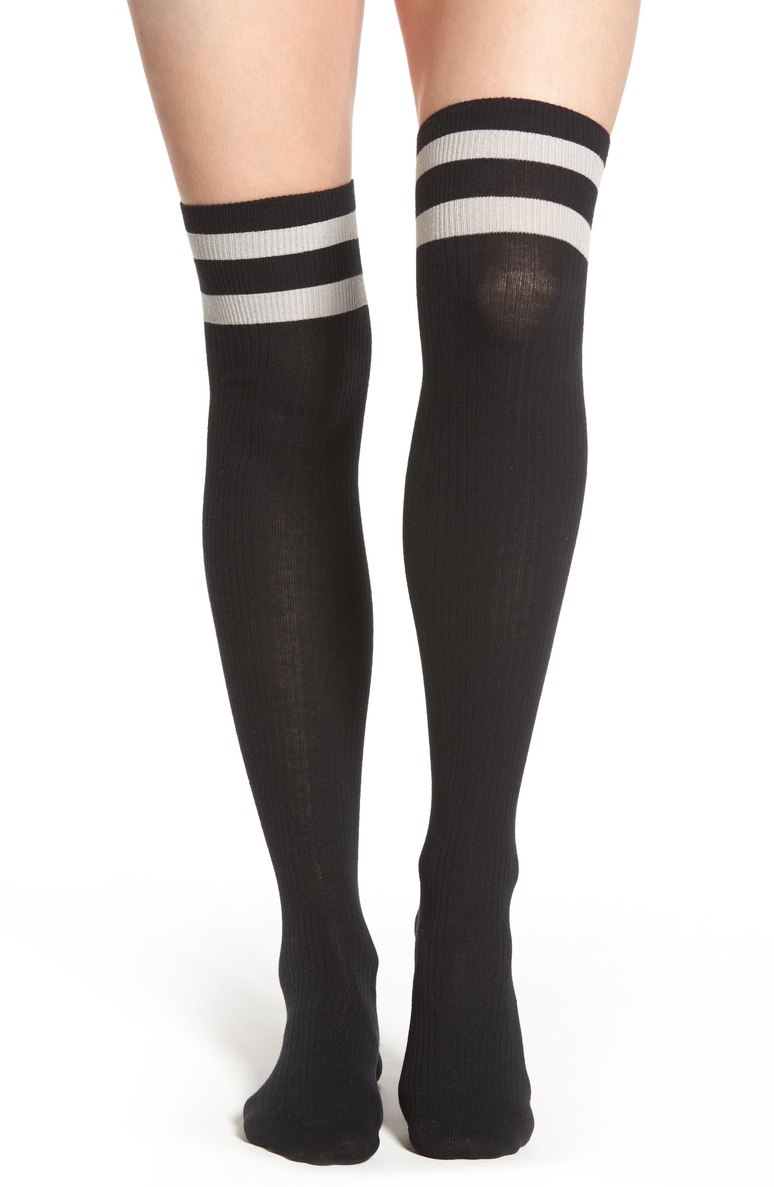 Varsity Stripe Over the Knee Socks,                             Main thumbnail 1, color,                             001