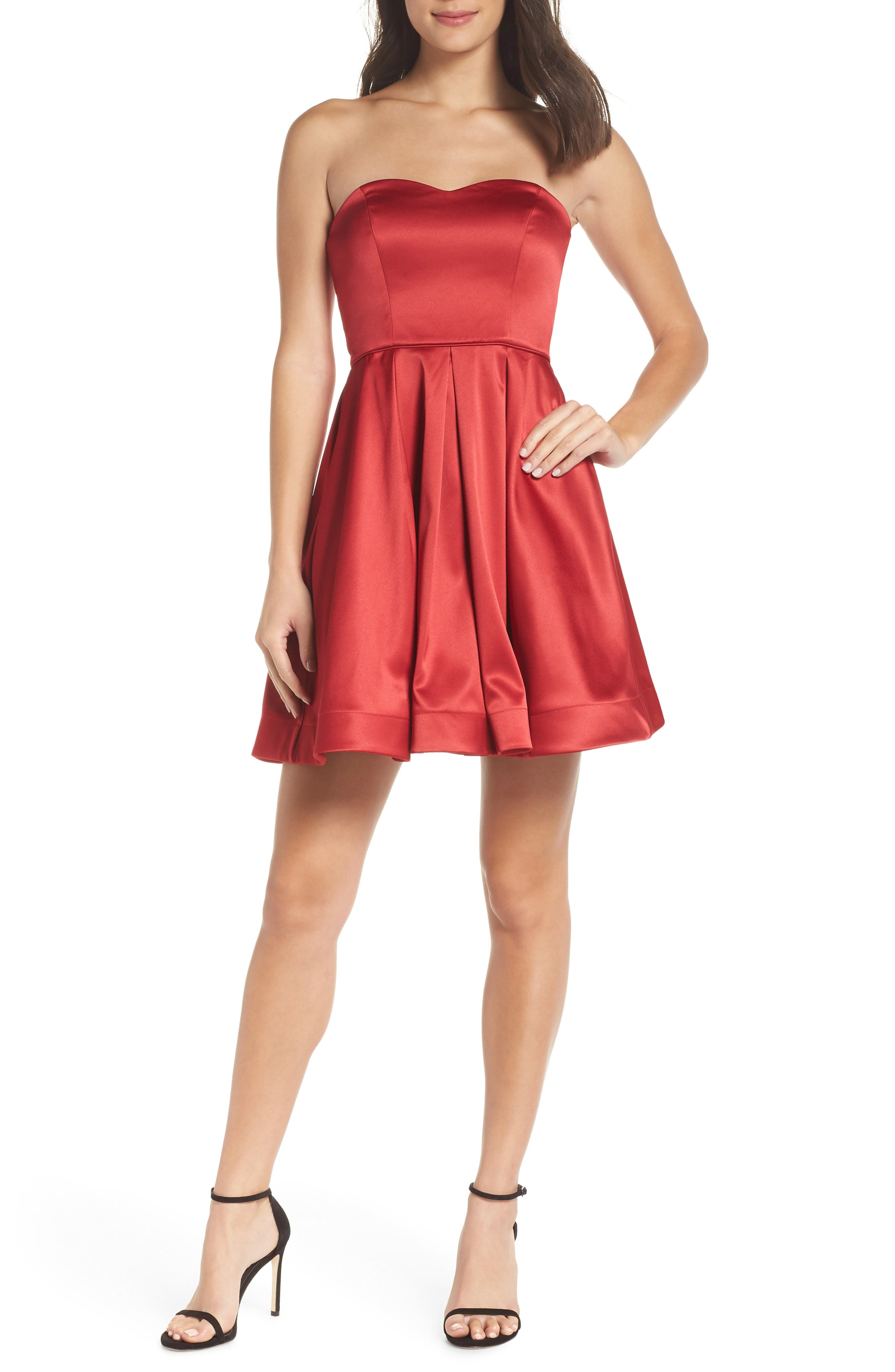 Satin Removable Strap Party Dress,                         Main,                         color, RED