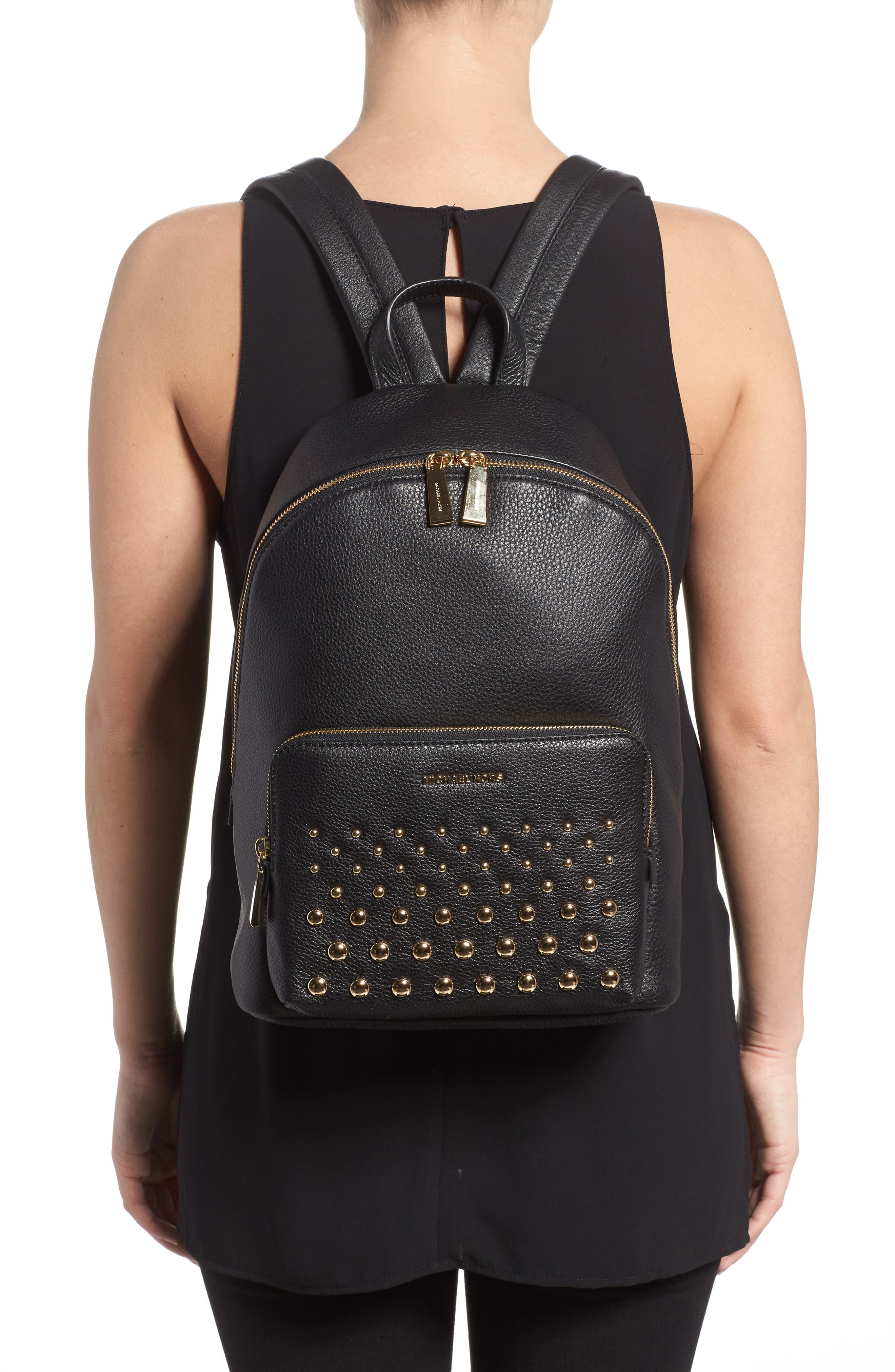Large Wythe Studded Leather Backpack,                             Alternate thumbnail 2, color,                             001