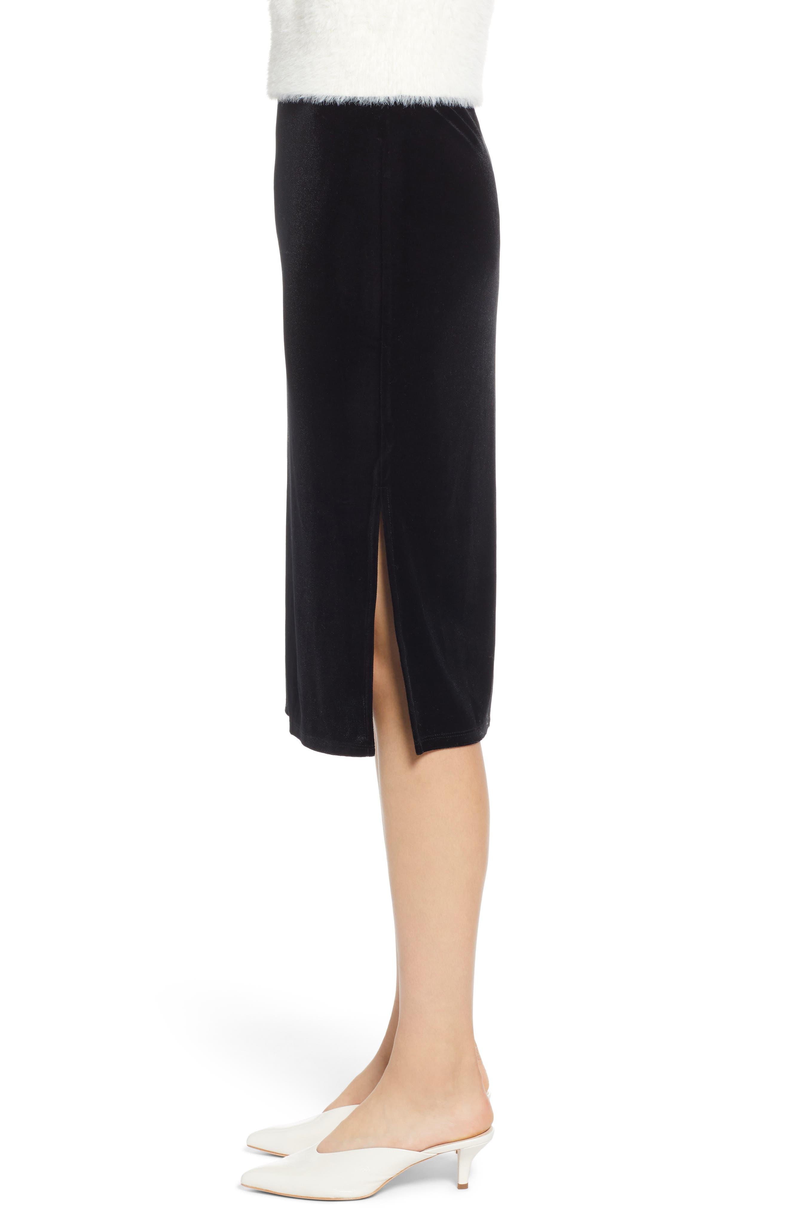 Velvet Pencil Skirt,                             Alternate thumbnail 3, color,                             001