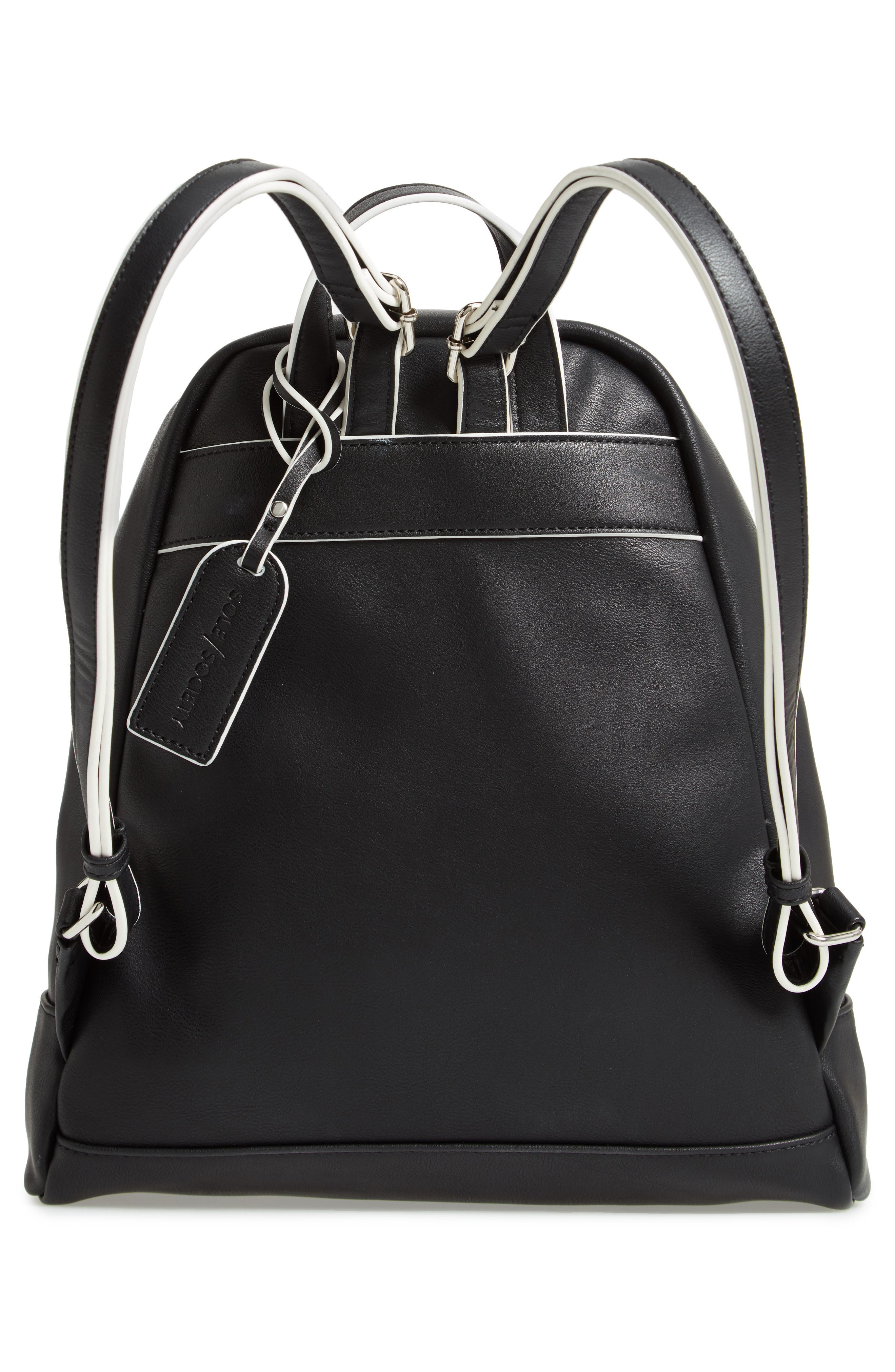 SOLE SOCIETY,                             Haili Faux Leather Backpack,                             Alternate thumbnail 3, color,                             001