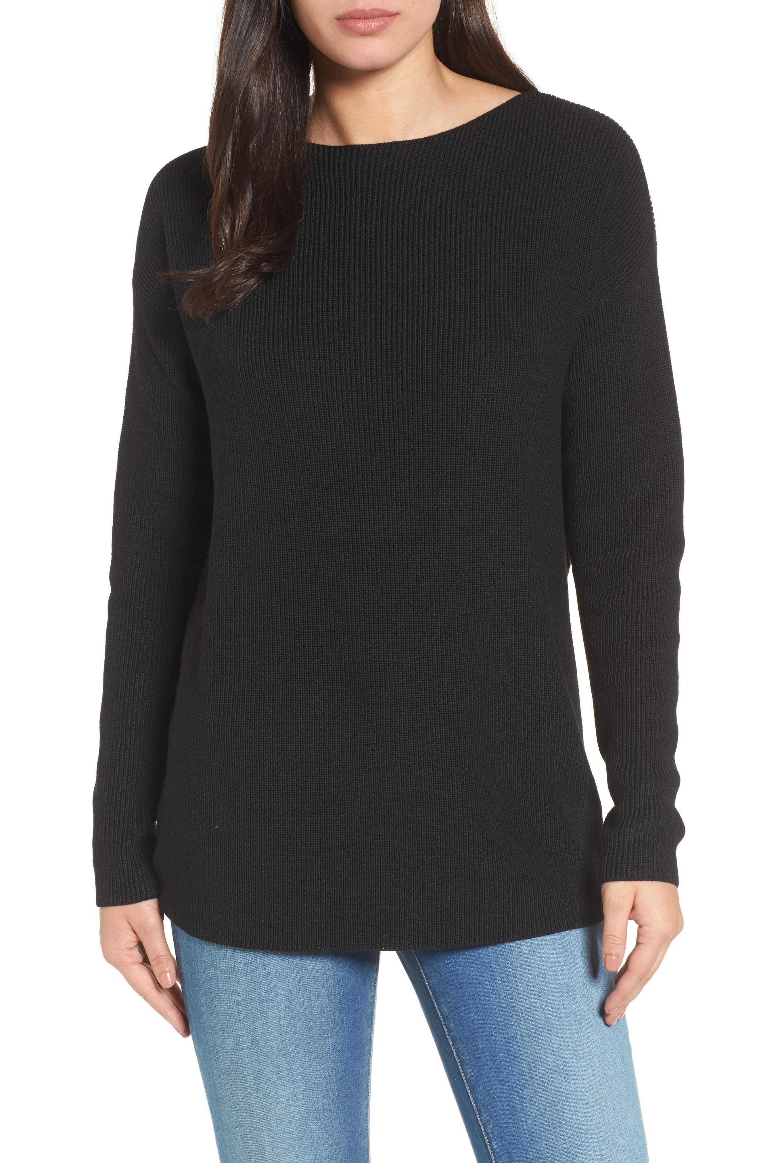 Twist Back Sweater,                         Main,                         color, BLACK