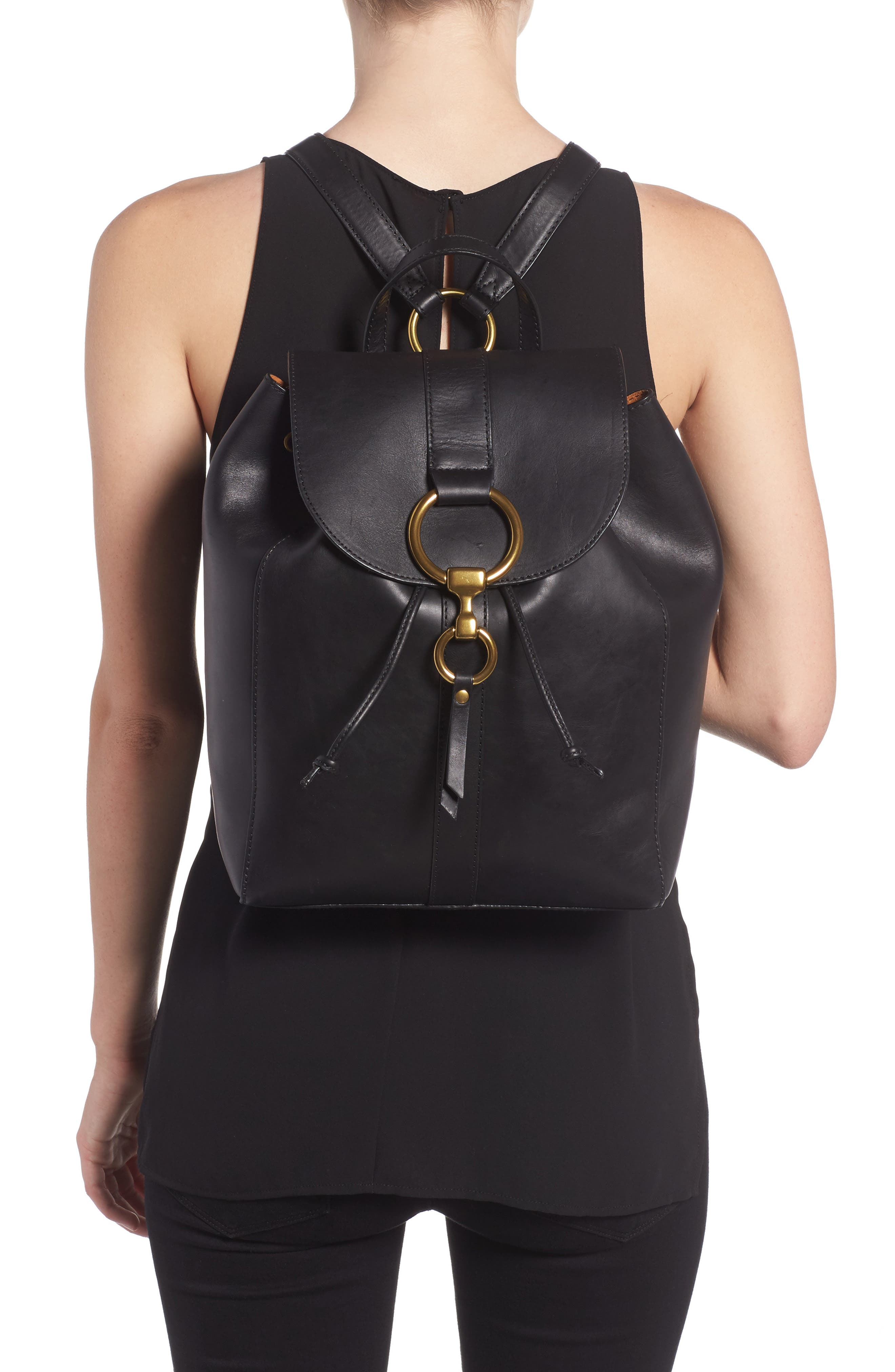Ilana Harness Leather Backpack,                             Alternate thumbnail 2, color,                             001