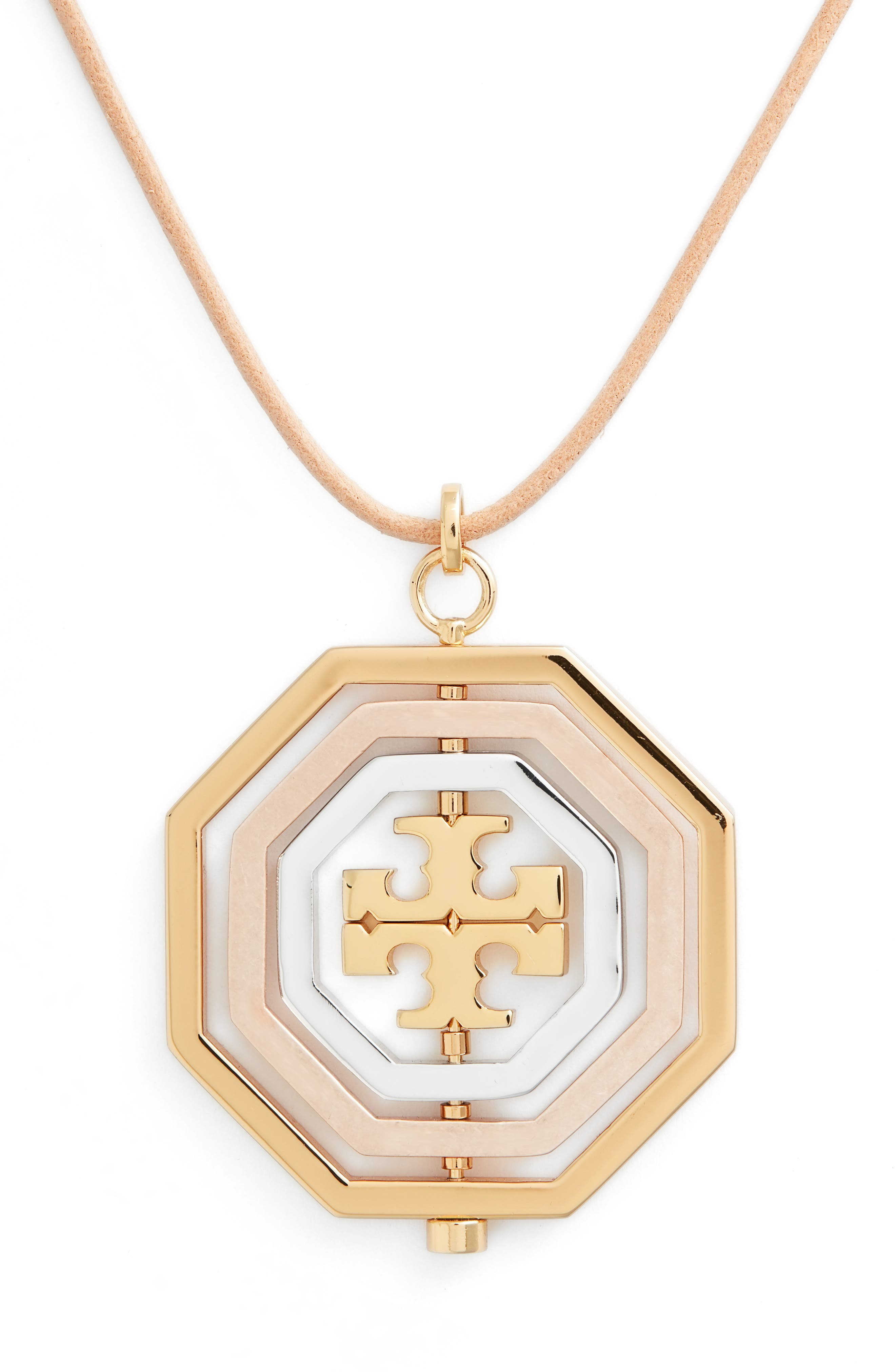 TORY BURCH,                             Logo Spinner Pendant Necklace,                             Alternate thumbnail 2, color,                             710