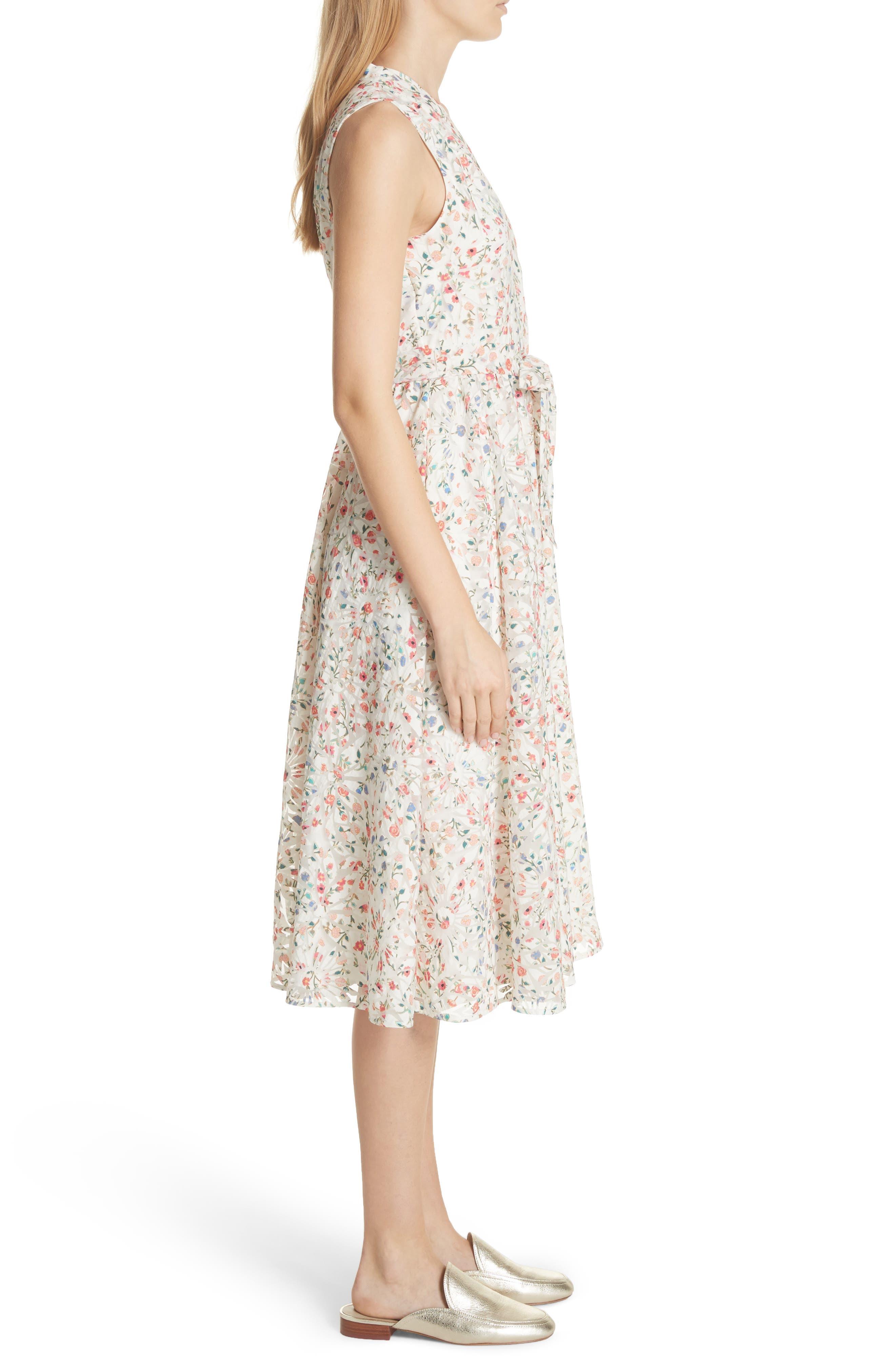 mini bloom burnout midi dress,                             Alternate thumbnail 3, color,