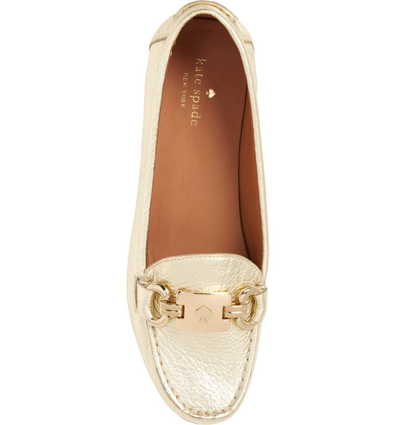a3a1ef04a13 Shop Kate Spade Carson Loafer In Gold Metallic Leather