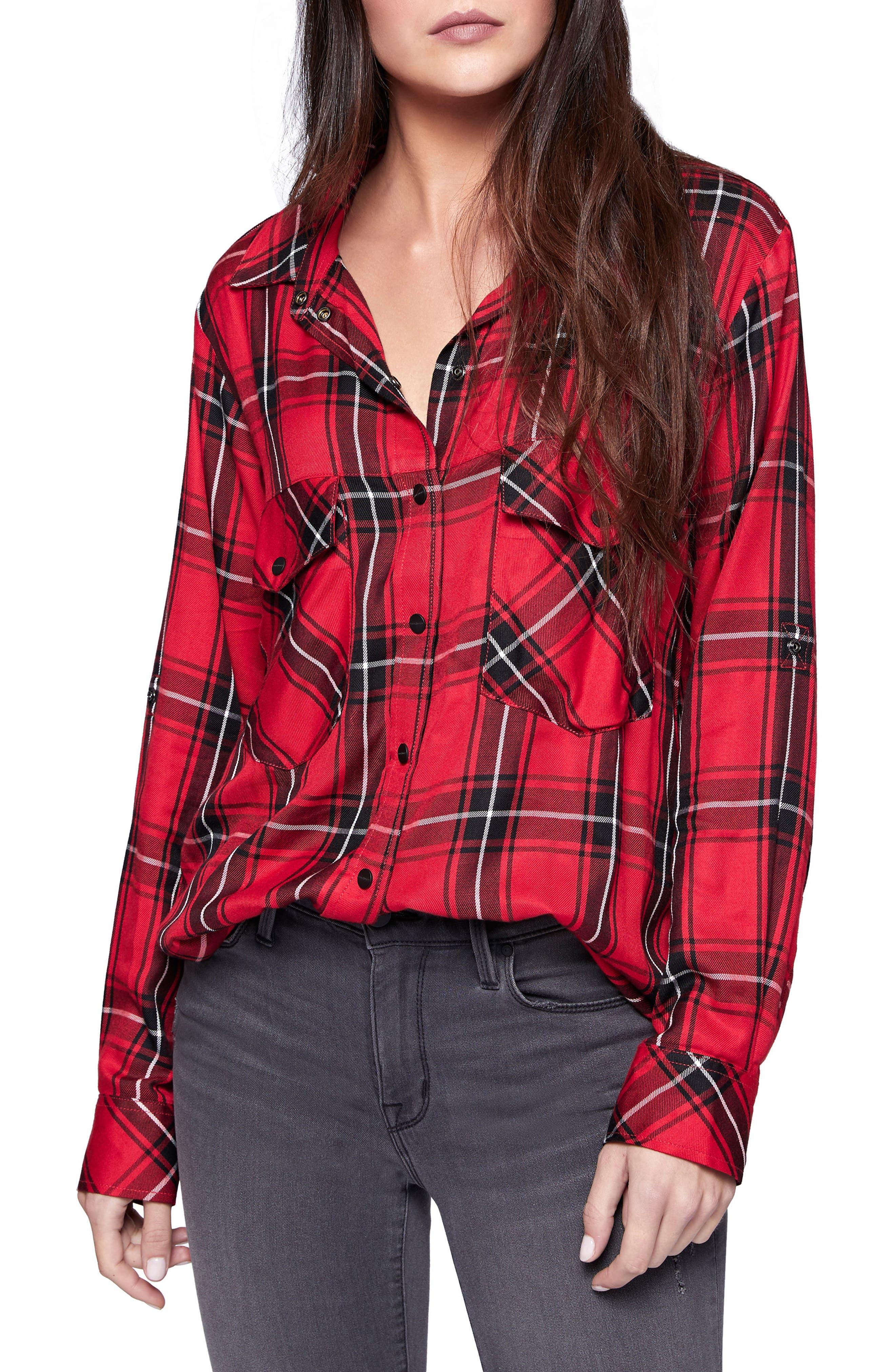 Plaid Boyfriend Shirt,                             Main thumbnail 3, color,
