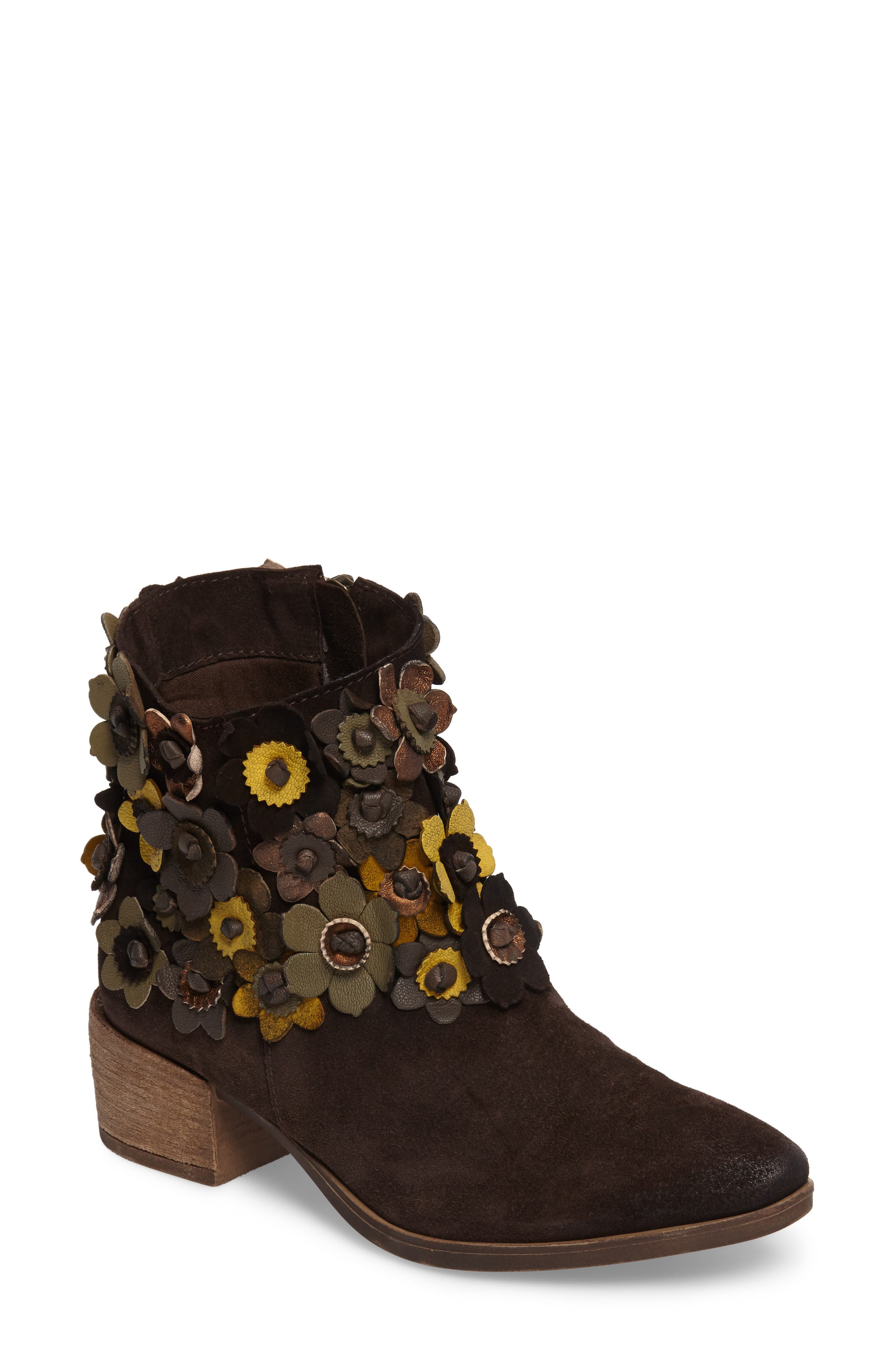 Sunflower Embellished Bootie,                             Main thumbnail 1, color,                             BROWN SUEDE