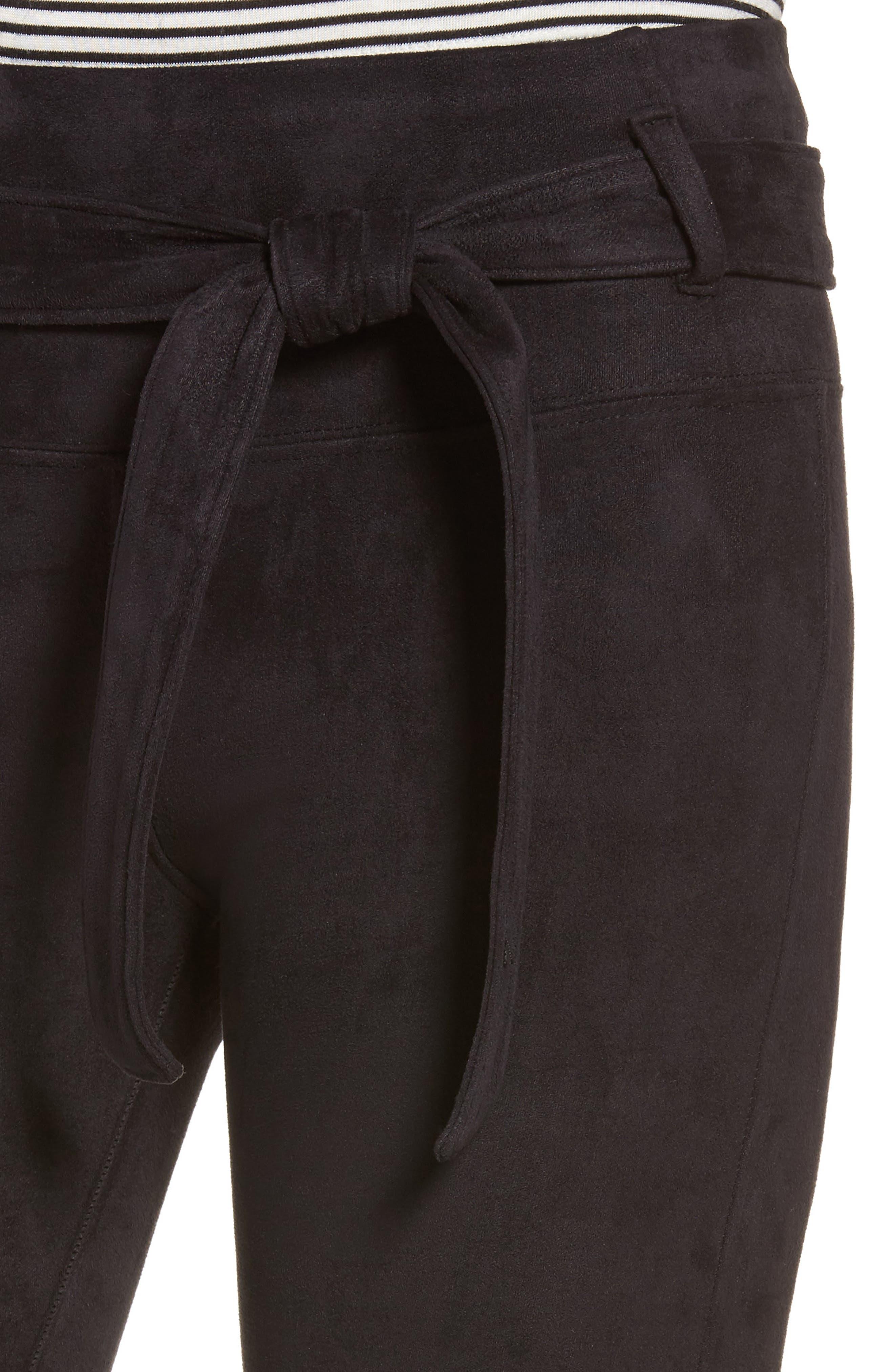Elliot High Rise Tie Waist Leggings,                             Alternate thumbnail 4, color,                             001