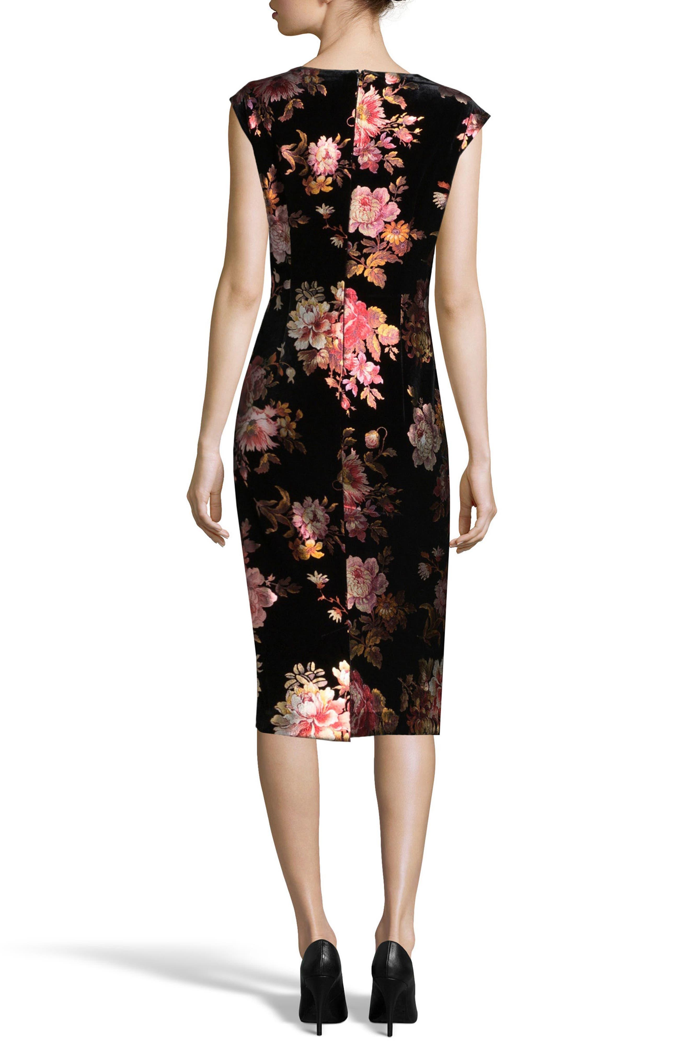 Floral Velvet Sheath Dress,                             Alternate thumbnail 2, color,                             019