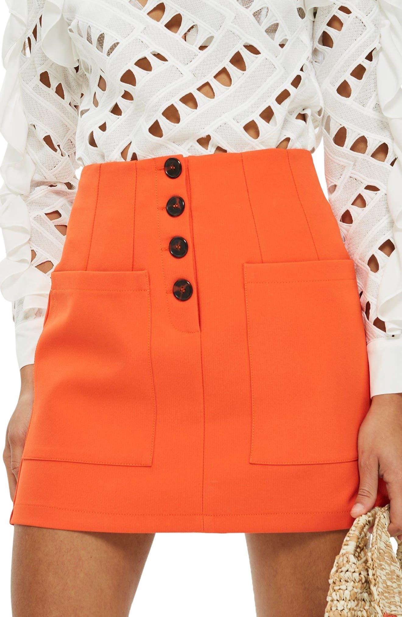 Pocket Button Miniskirt,                             Main thumbnail 1, color,                             800