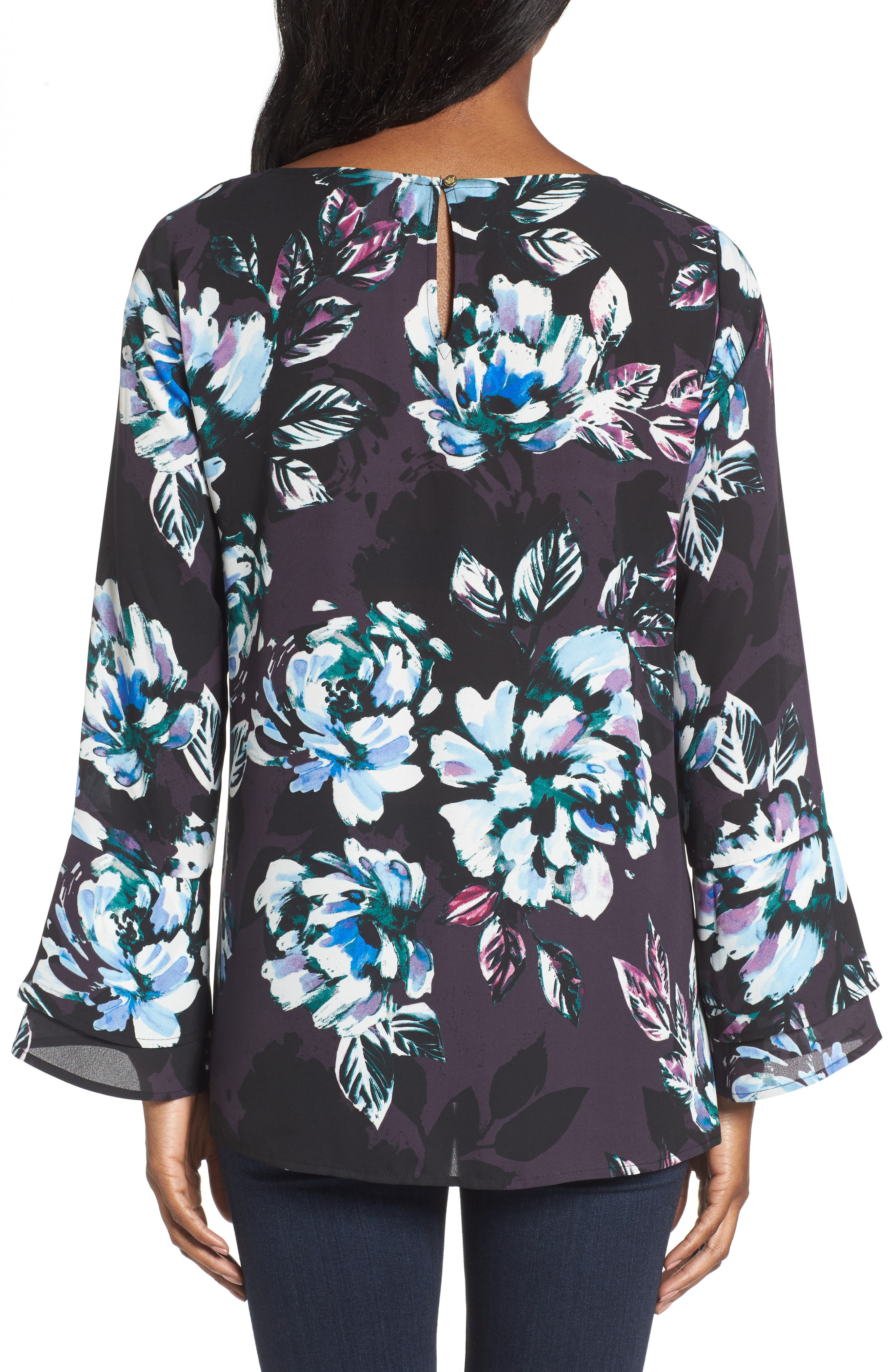 Twilight Blooms Bell Sleeve Blouse,                             Alternate thumbnail 2, color,                             006