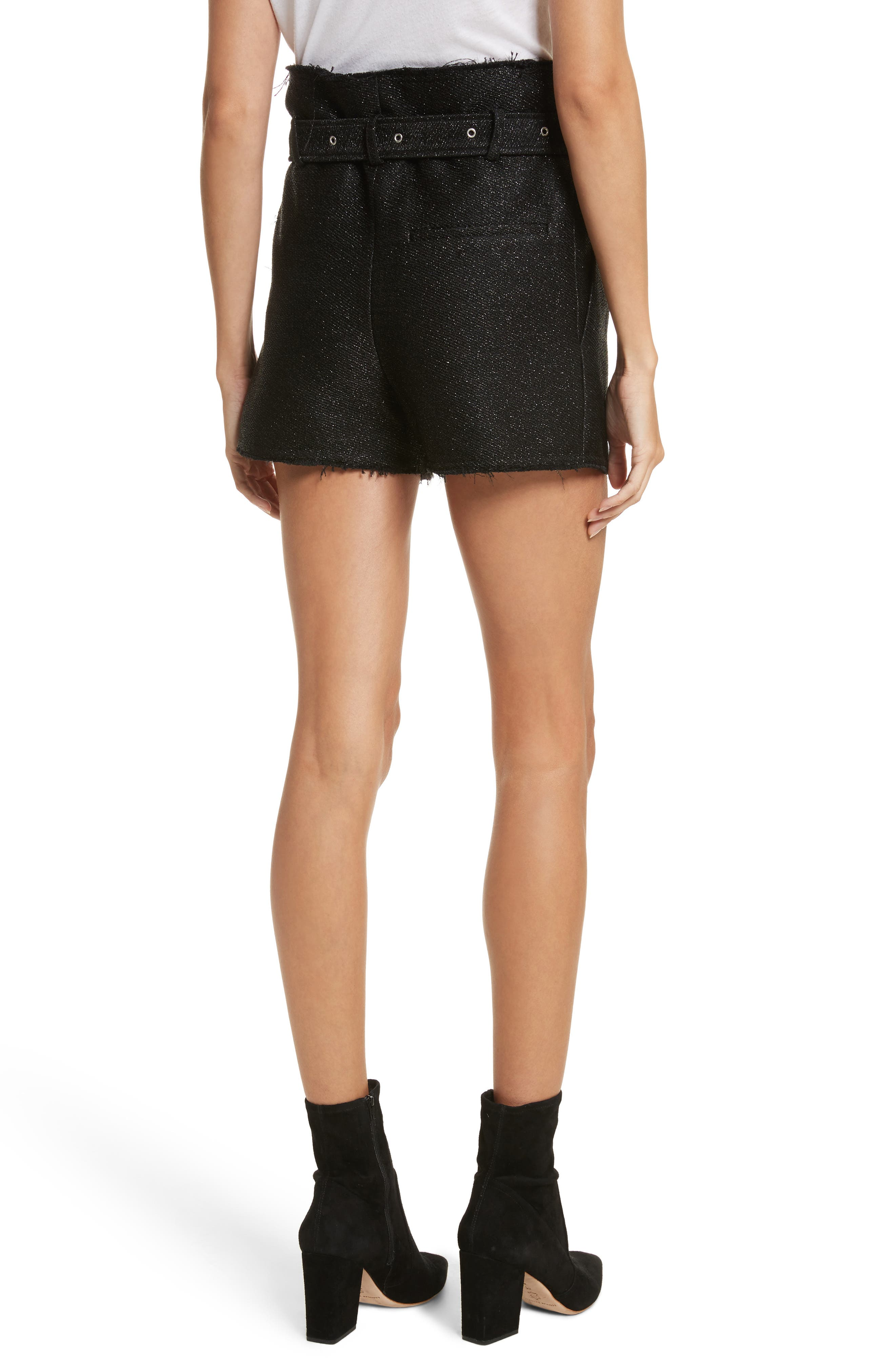 Chopan Belted Paper Bag Shorts,                             Alternate thumbnail 2, color,                             001