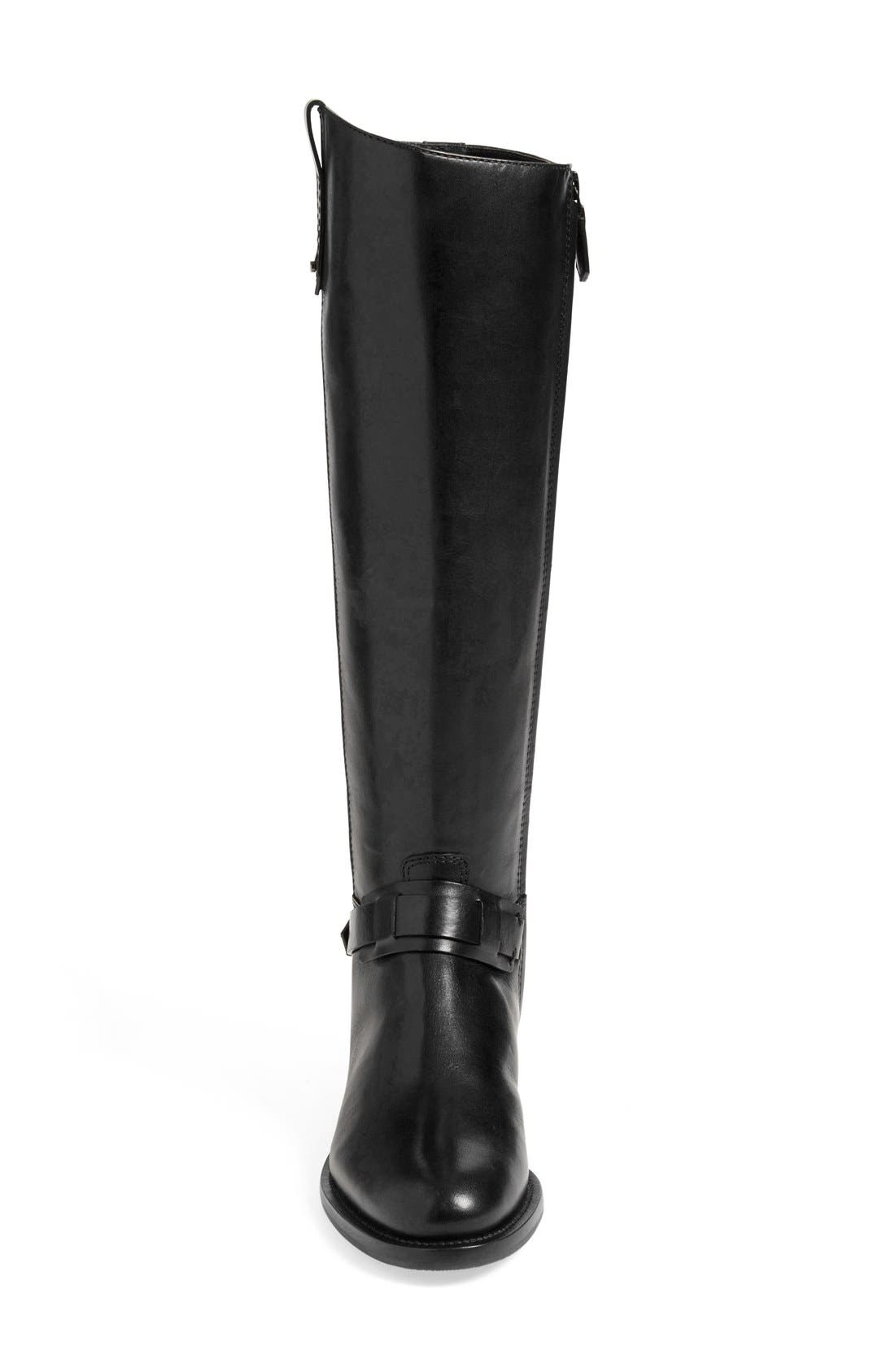 'Derby' Leather Riding Boot,                             Alternate thumbnail 3, color,                             001