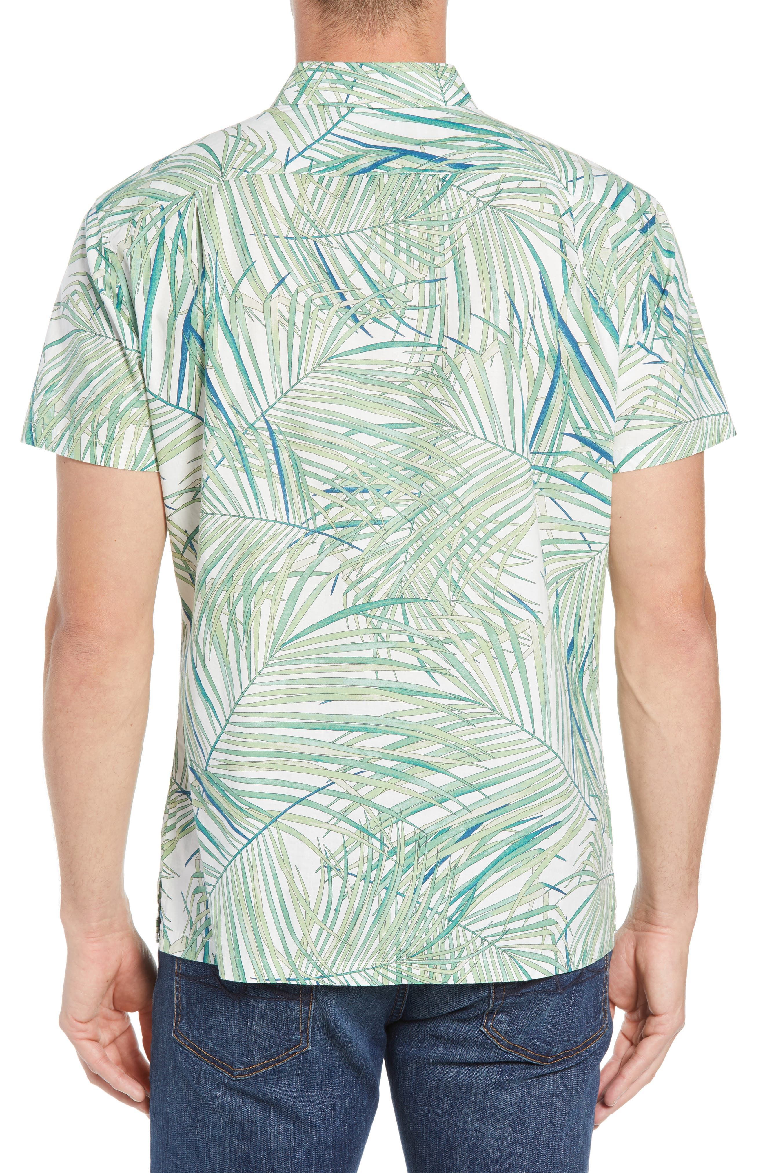 Kentia Trim Fit Palm Print Sport Shirt,                             Alternate thumbnail 2, color,                             100