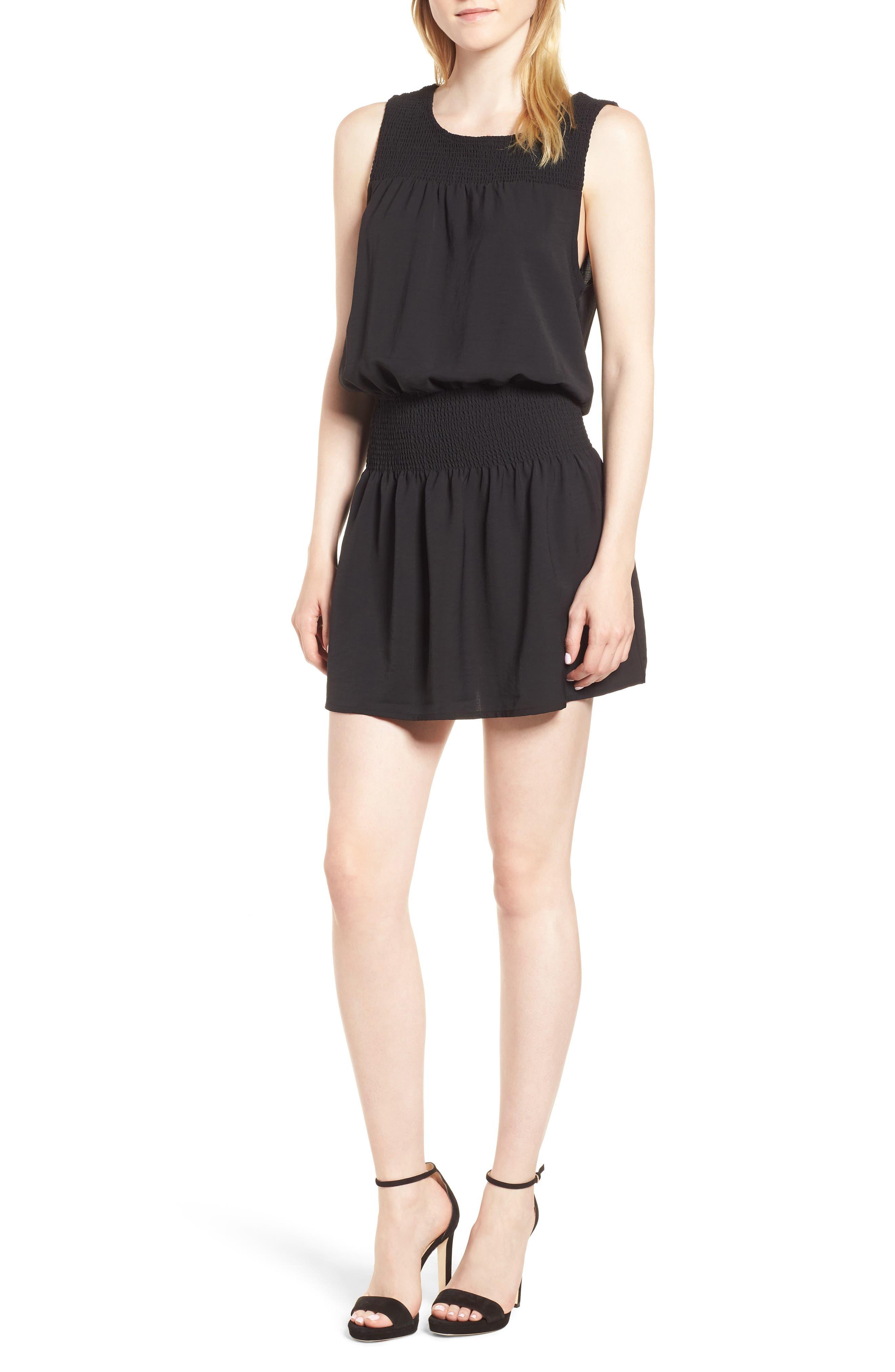 Bishop + Young Smocked Dress,                             Main thumbnail 1, color,                             BLACK