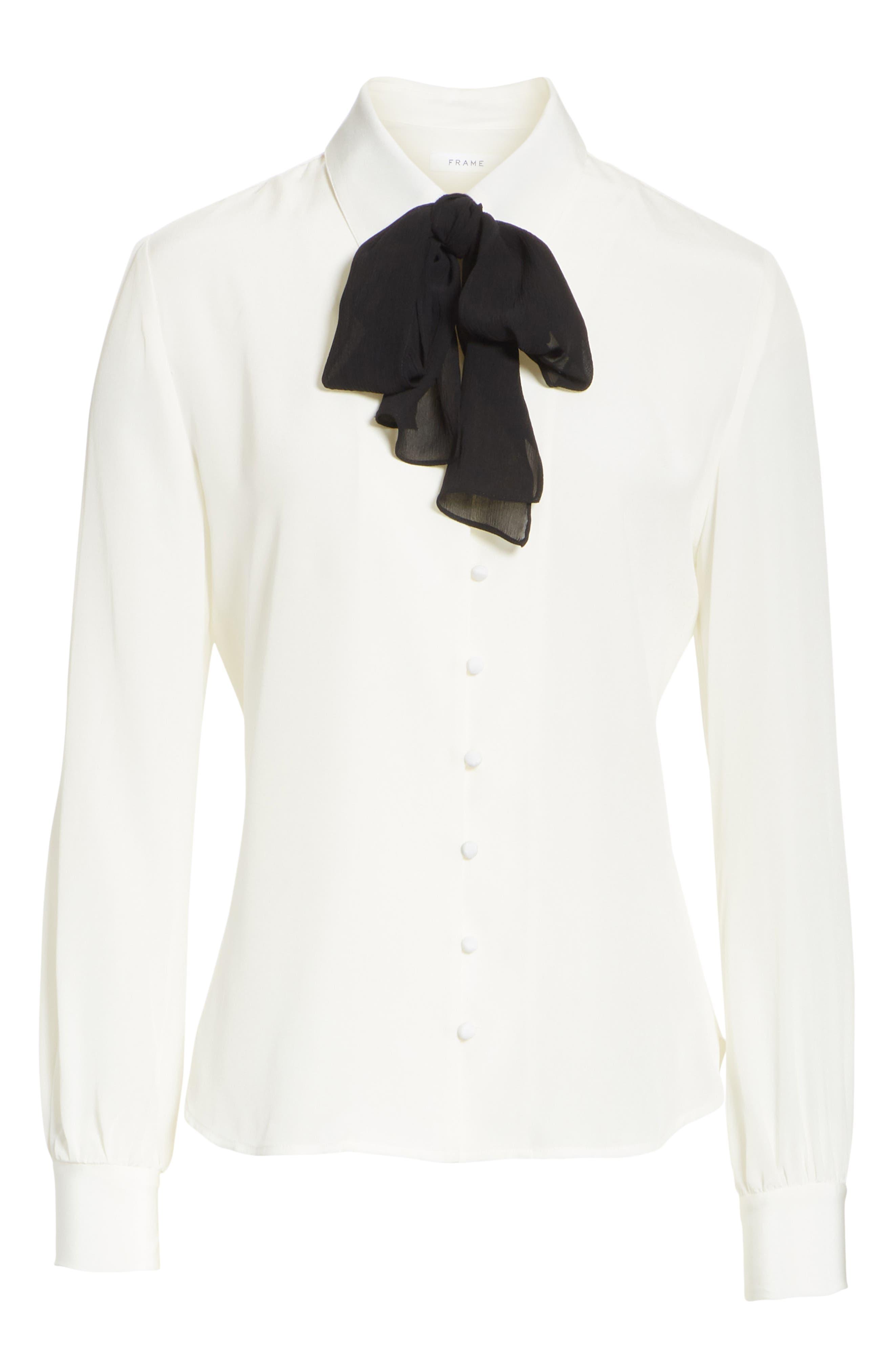 Tie Neck Silk Blouse,                             Alternate thumbnail 6, color,                             OFF WHITE