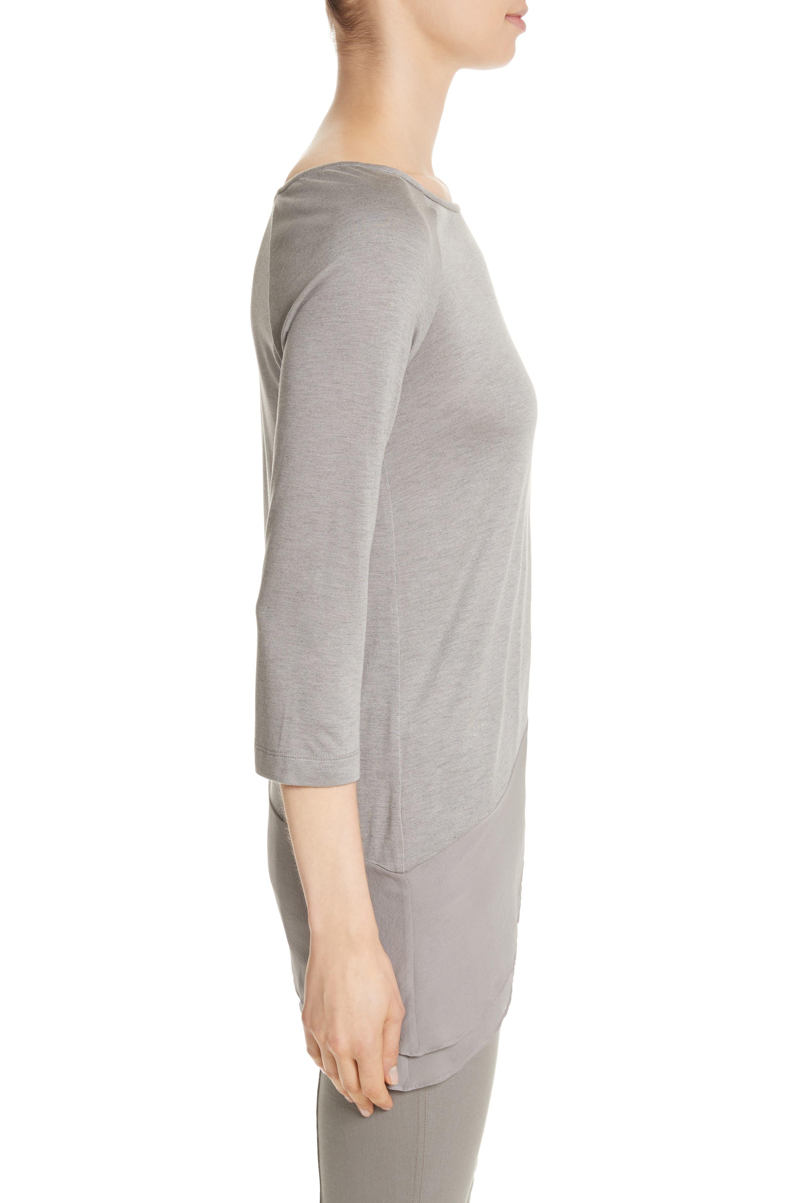 Silk Georgette & Jersey Asymmetrical Blouse,                             Alternate thumbnail 3, color,                             100