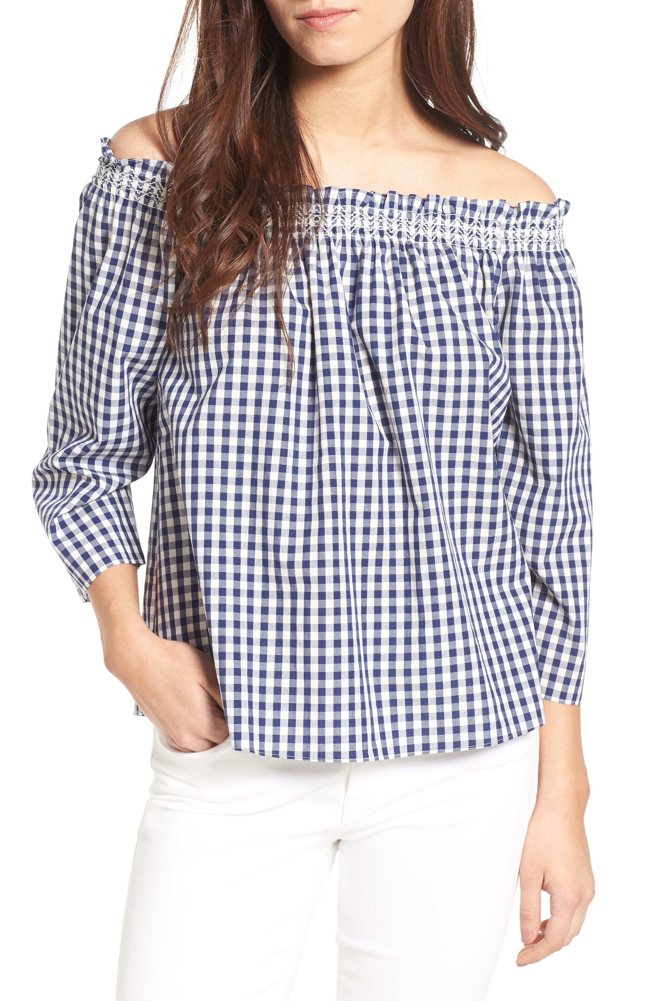 Smocked Gingham Off the Shoulder Top,                             Main thumbnail 1, color,                             406