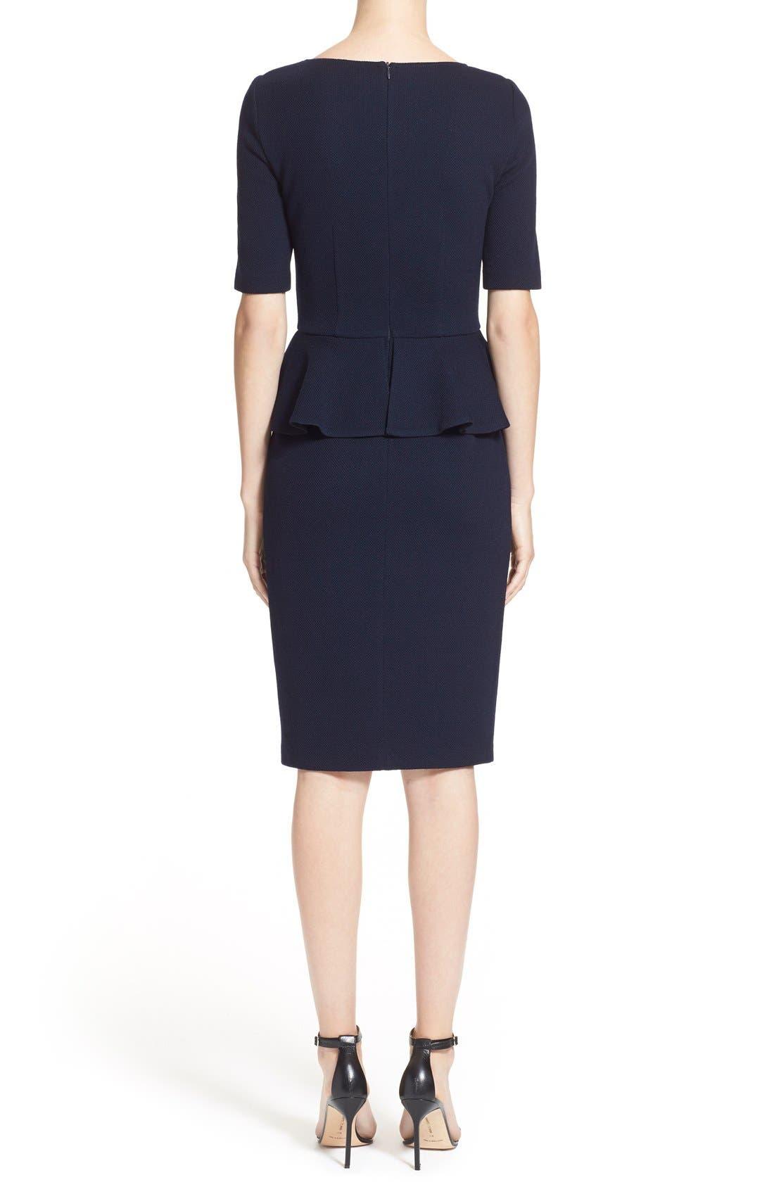 Peplum Milano Piqué Knit Dress,                             Alternate thumbnail 4, color,                             400