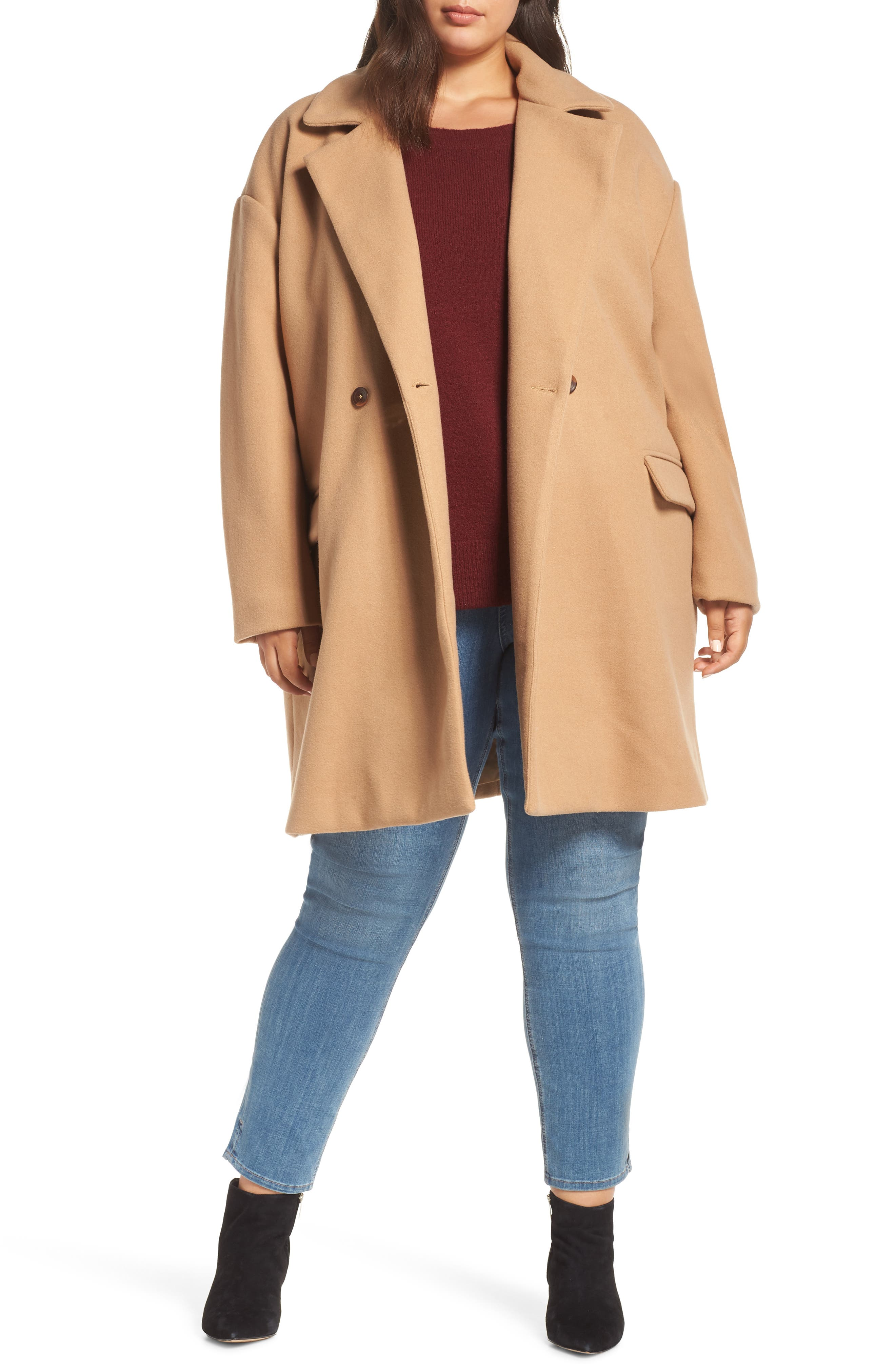 Oversize Double Breasted Coat,                         Main,                         color, TAN