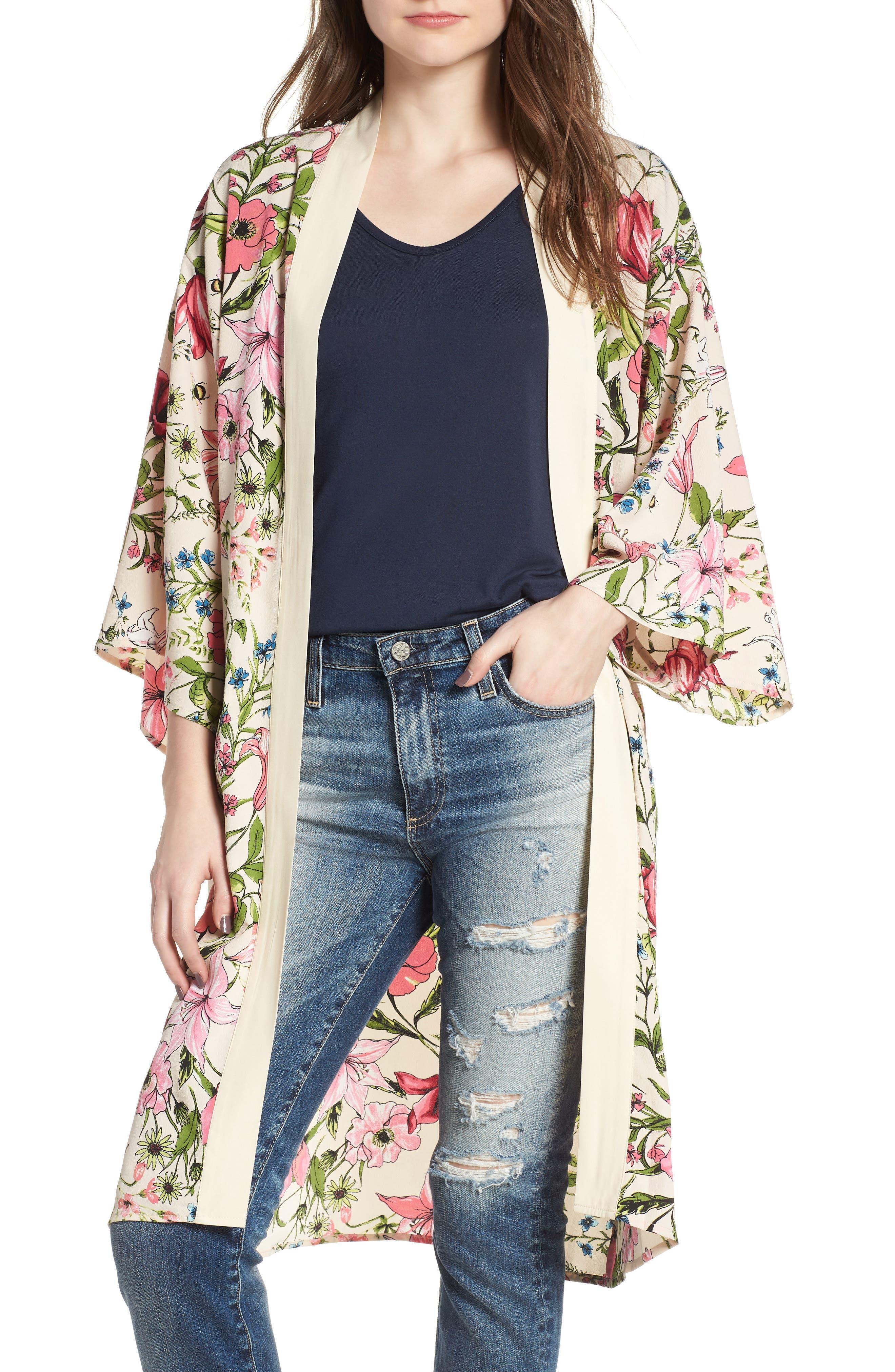 Floral Crepe Kimono,                             Main thumbnail 1, color,                             277