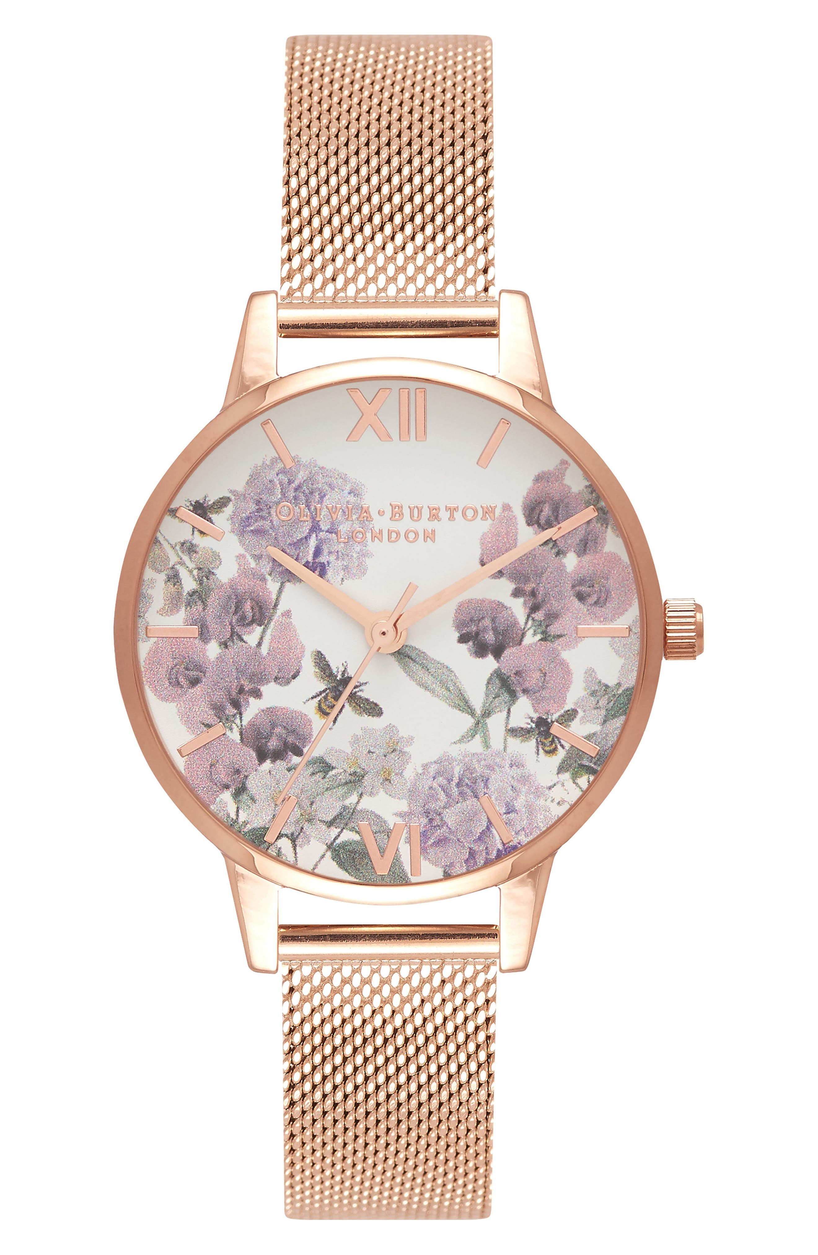 Enchanted Garden Bee Blooms Mesh Bracelet Watch, 30mm,                             Main thumbnail 1, color,                             710