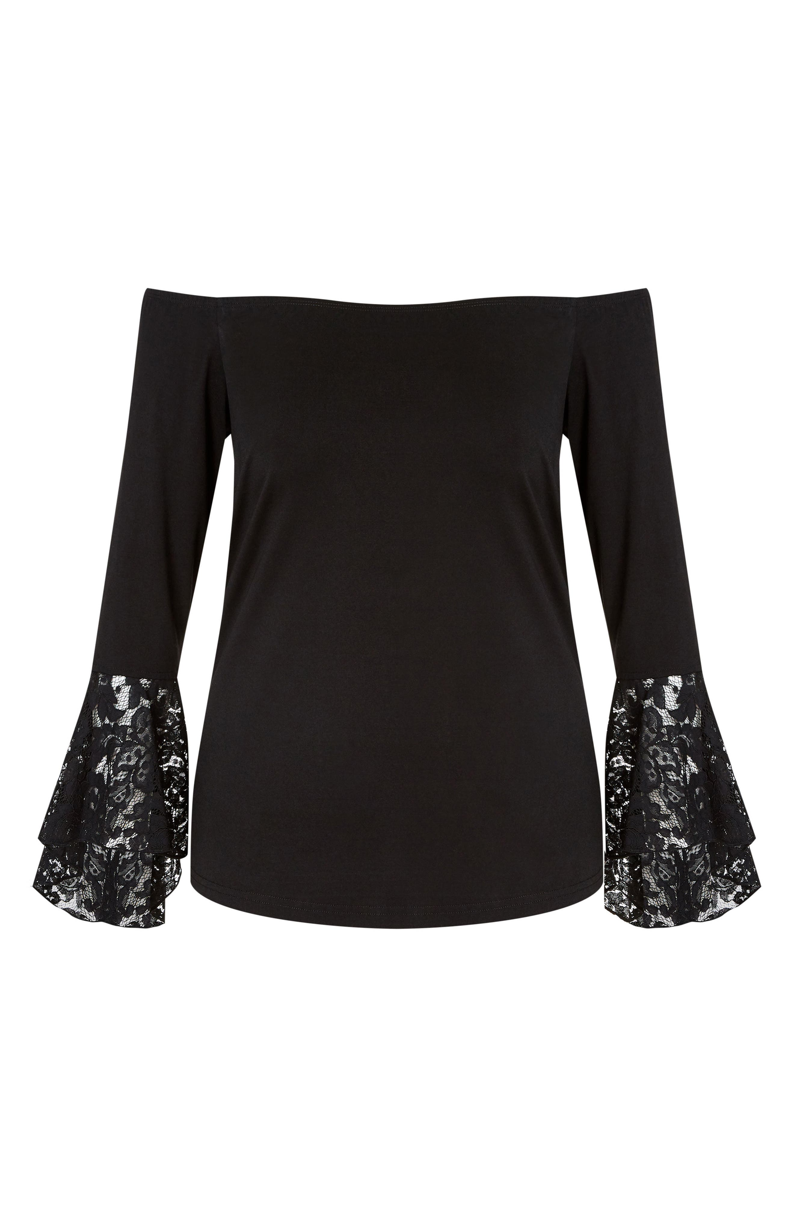 Lace Bell Sleeve Off the Shoulder Top,                             Alternate thumbnail 3, color,                             001