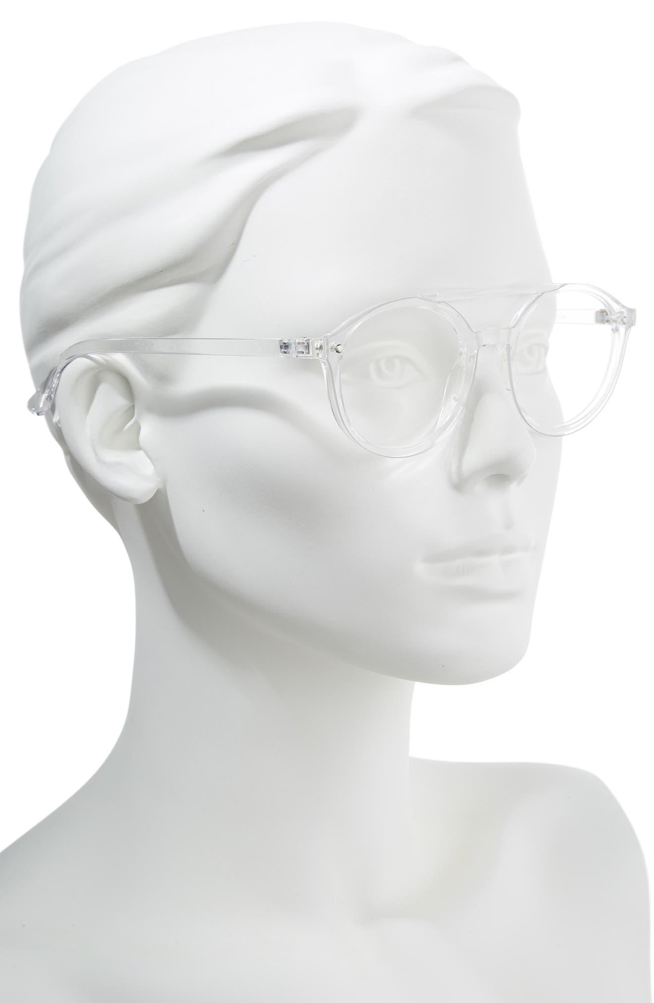 54mm Aviator Fashion Glasses,                             Alternate thumbnail 2, color,                             CLEAR