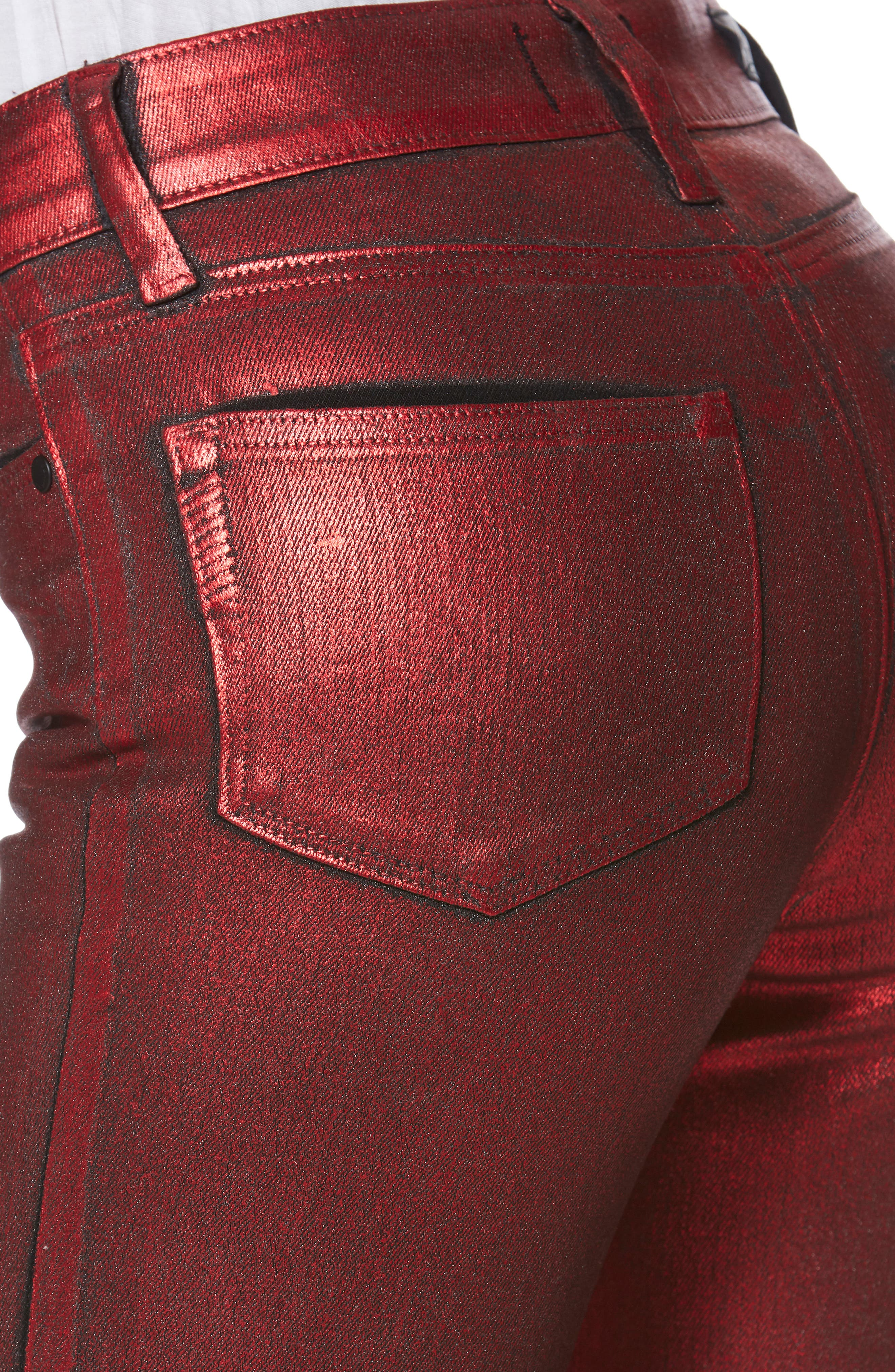Hoxton High Waist Ultra Skinny Jeans,                             Alternate thumbnail 4, color,                             RED GALAXY COATING